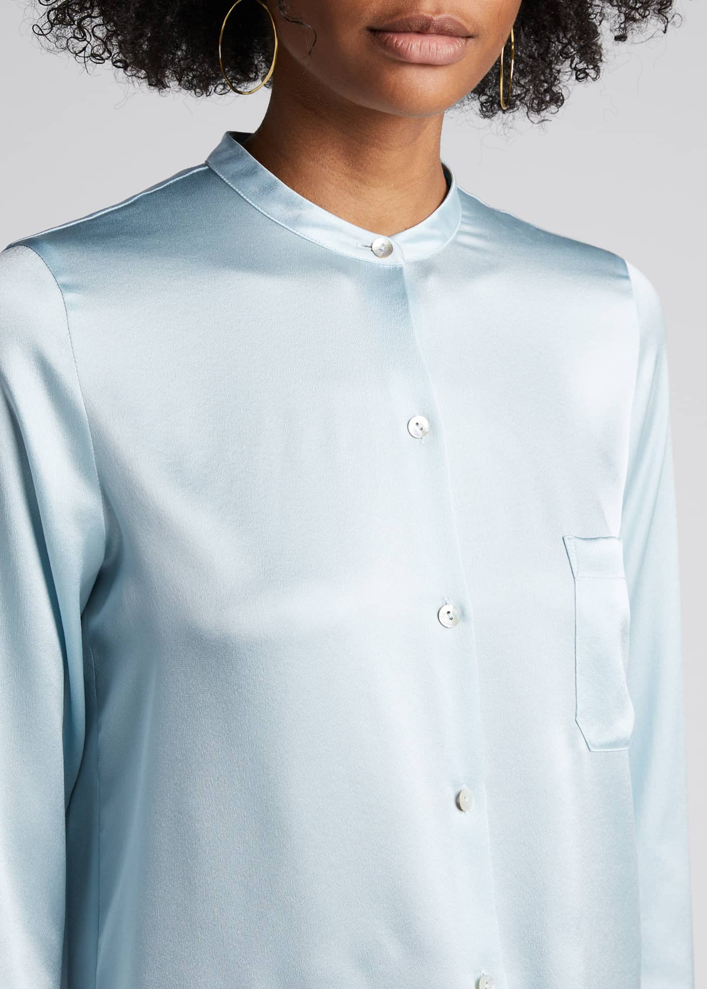 Image 4 of 5: Slim Fitted Band Collar Button-Down Silk Shirt