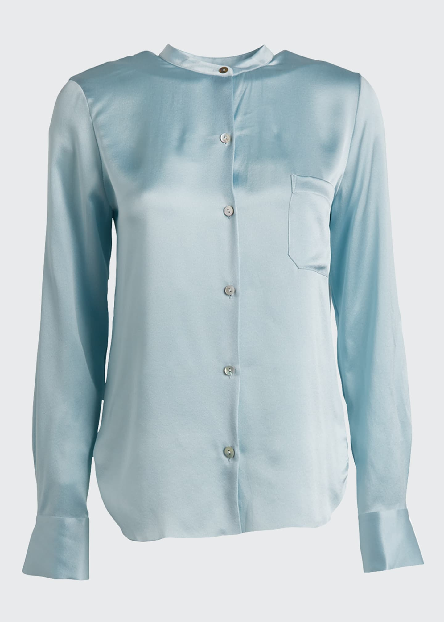 Image 5 of 5: Slim Fitted Band Collar Button-Down Silk Shirt