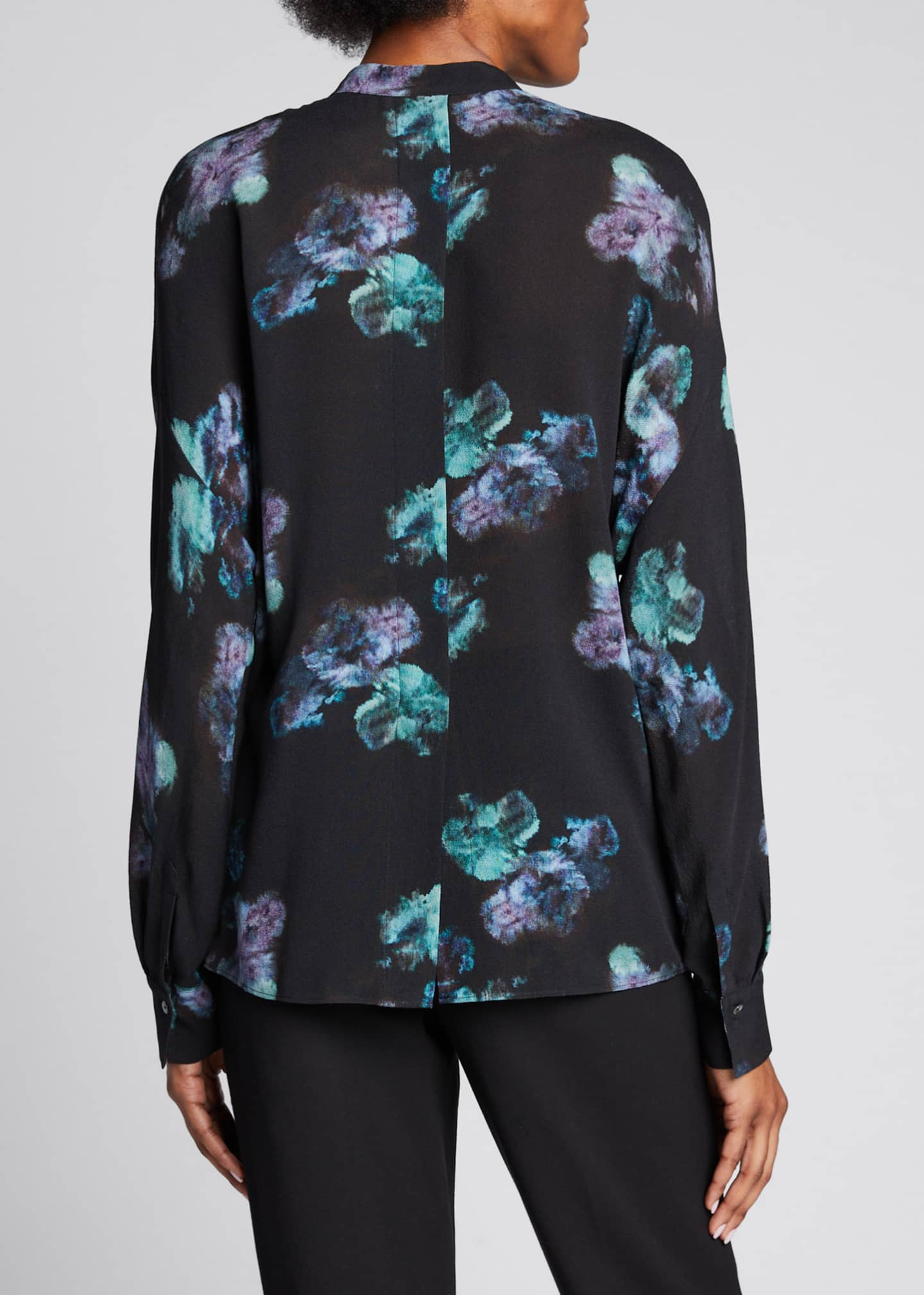 Image 2 of 5: Painted Floral Button-Front Long-Sleeve Silk Blouse