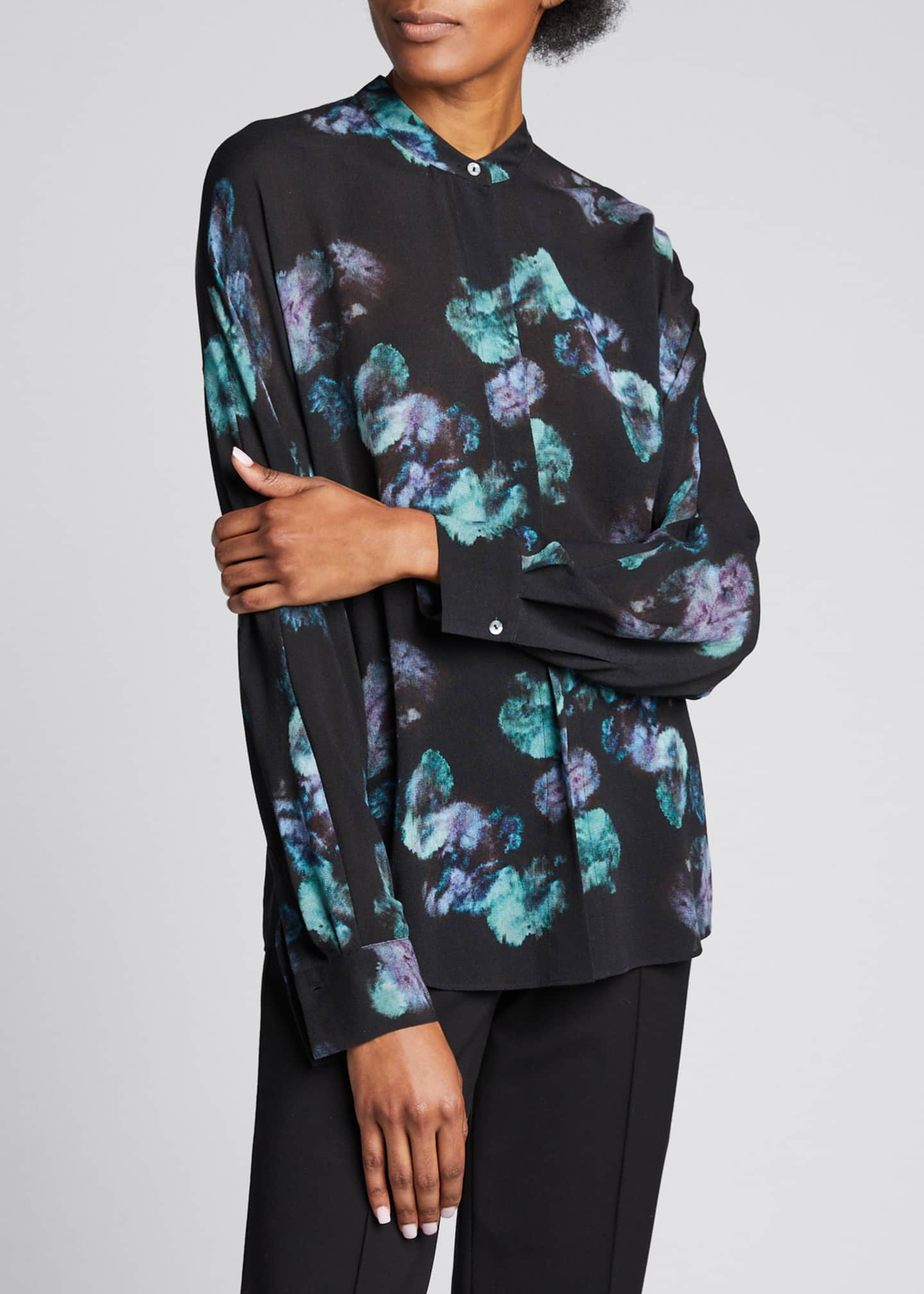 Image 3 of 5: Painted Floral Button-Front Long-Sleeve Silk Blouse