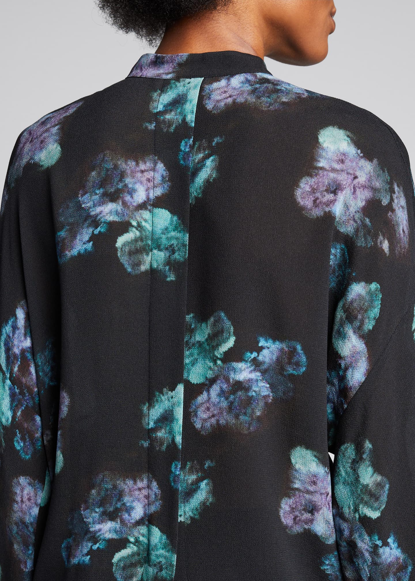 Image 4 of 5: Painted Floral Button-Front Long-Sleeve Silk Blouse