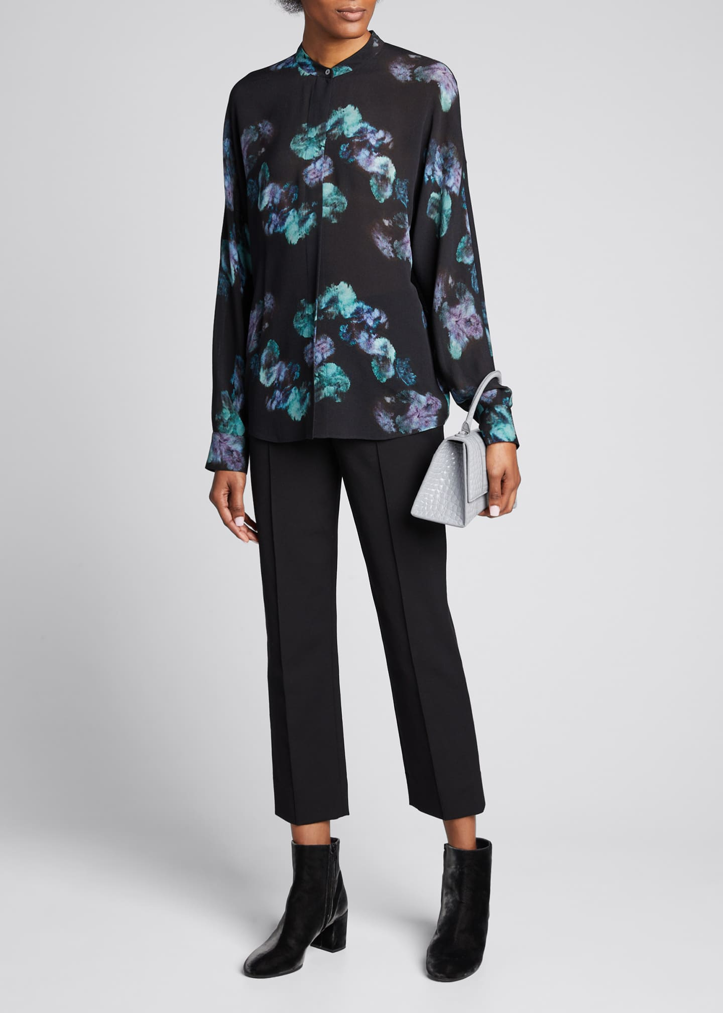 Image 1 of 5: Painted Floral Button-Front Long-Sleeve Silk Blouse