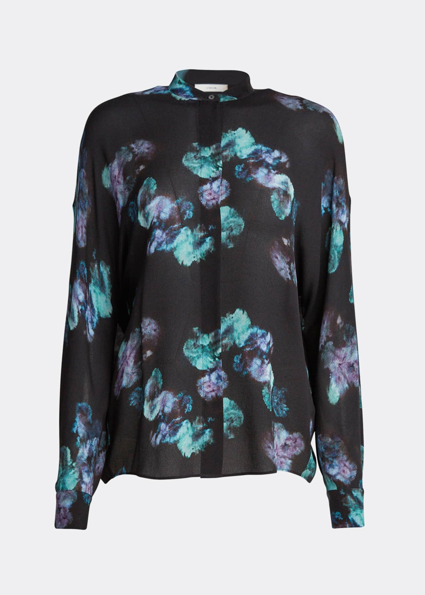 Image 5 of 5: Painted Floral Button-Front Long-Sleeve Silk Blouse