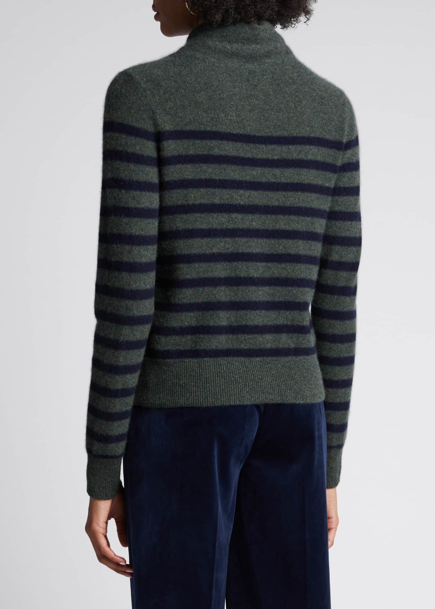 Image 2 of 5: Breton Stripe Cashmere Turtleneck Sweater