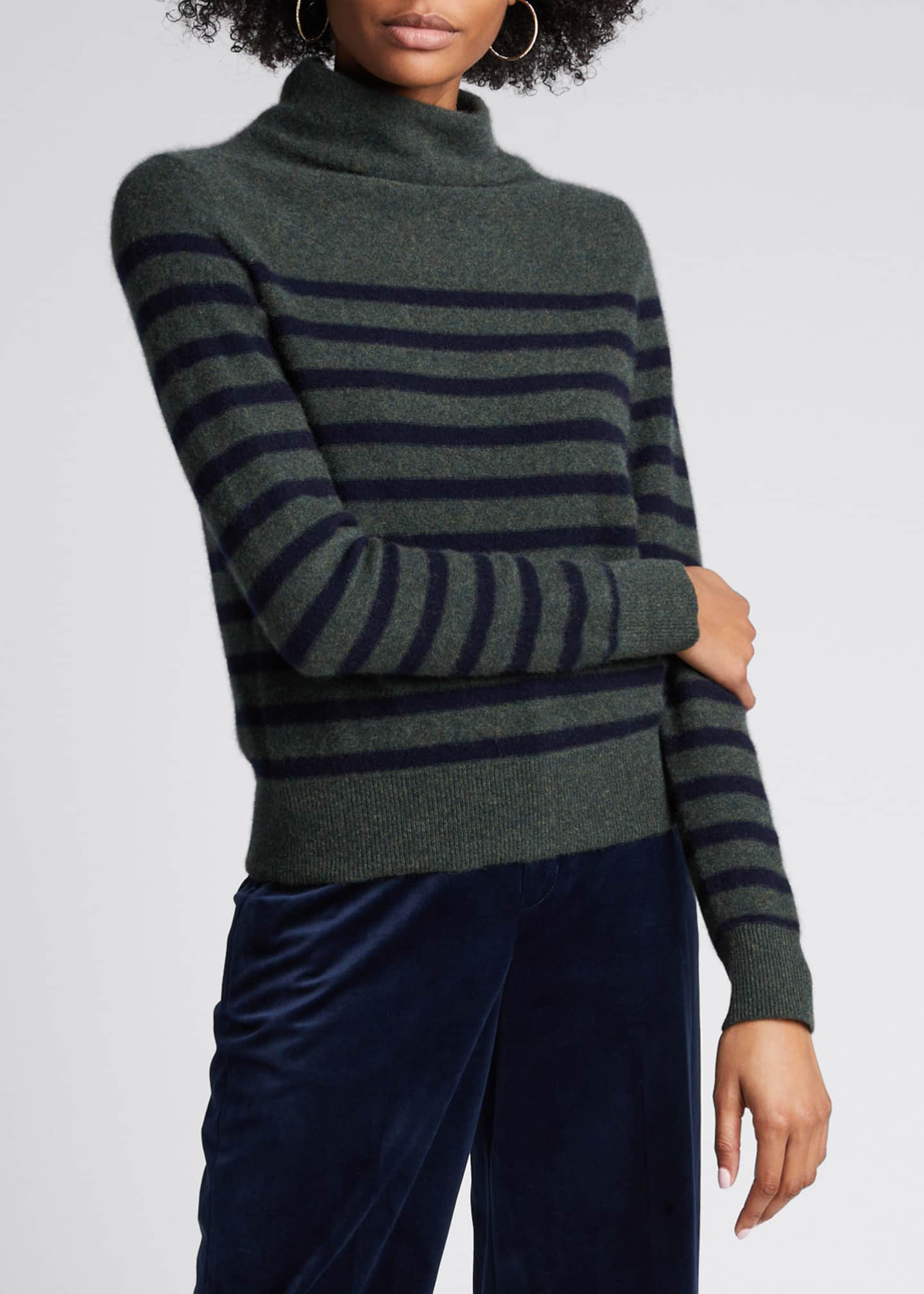 Image 3 of 5: Breton Stripe Cashmere Turtleneck Sweater