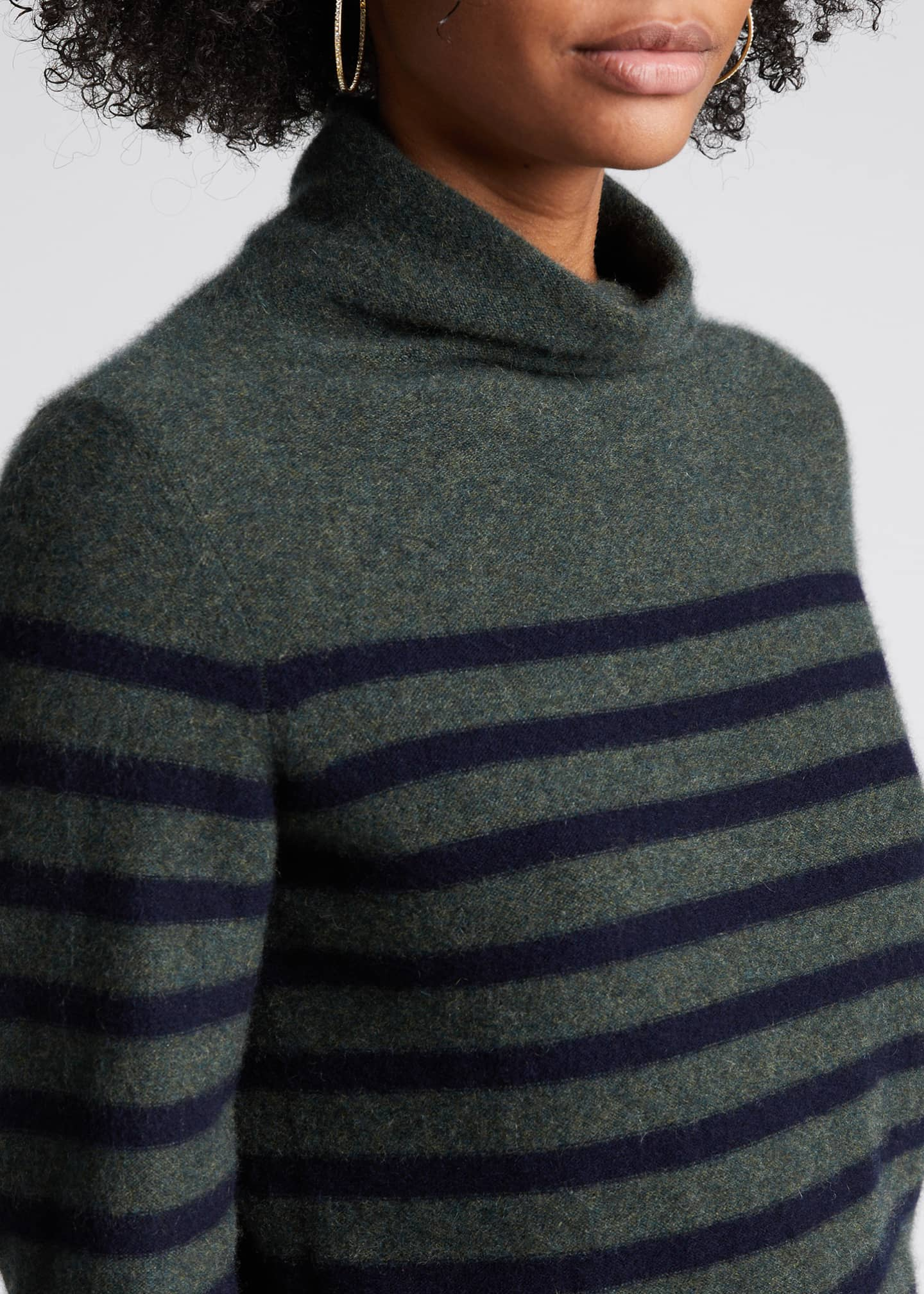 Image 4 of 5: Breton Stripe Cashmere Turtleneck Sweater
