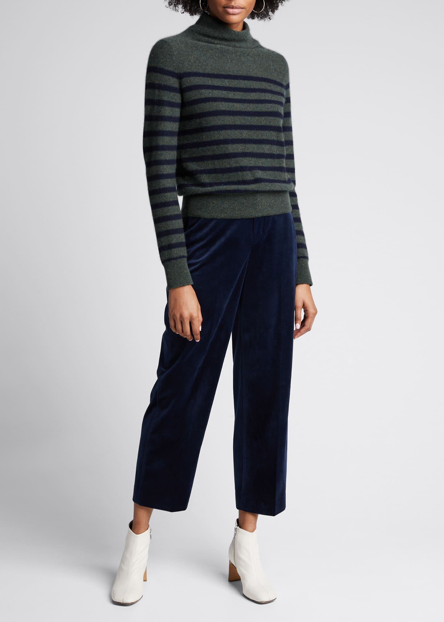 Image 1 of 5: Breton Stripe Cashmere Turtleneck Sweater