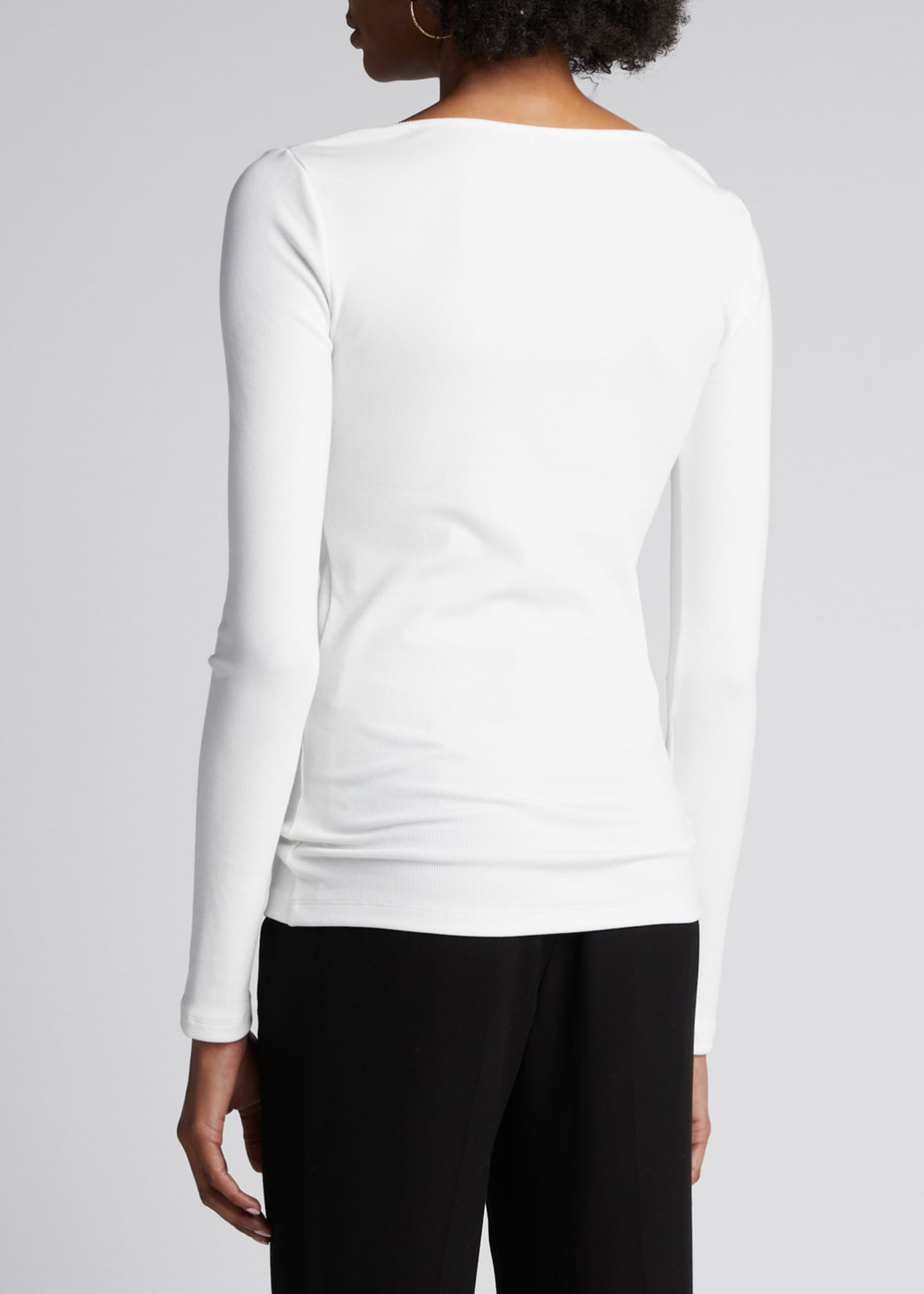 Image 2 of 5: Deep Scoop Neck Long-Sleeve Top
