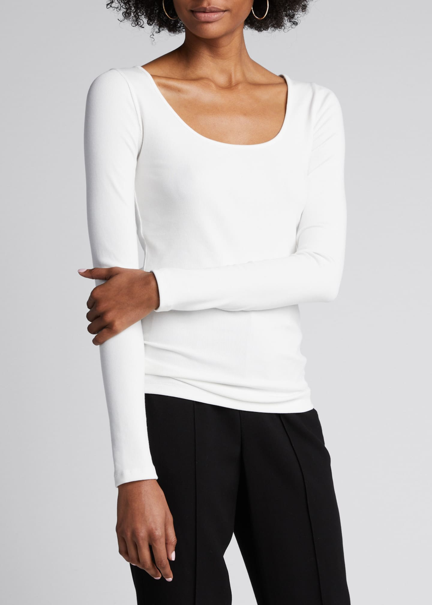 Image 3 of 5: Deep Scoop Neck Long-Sleeve Top