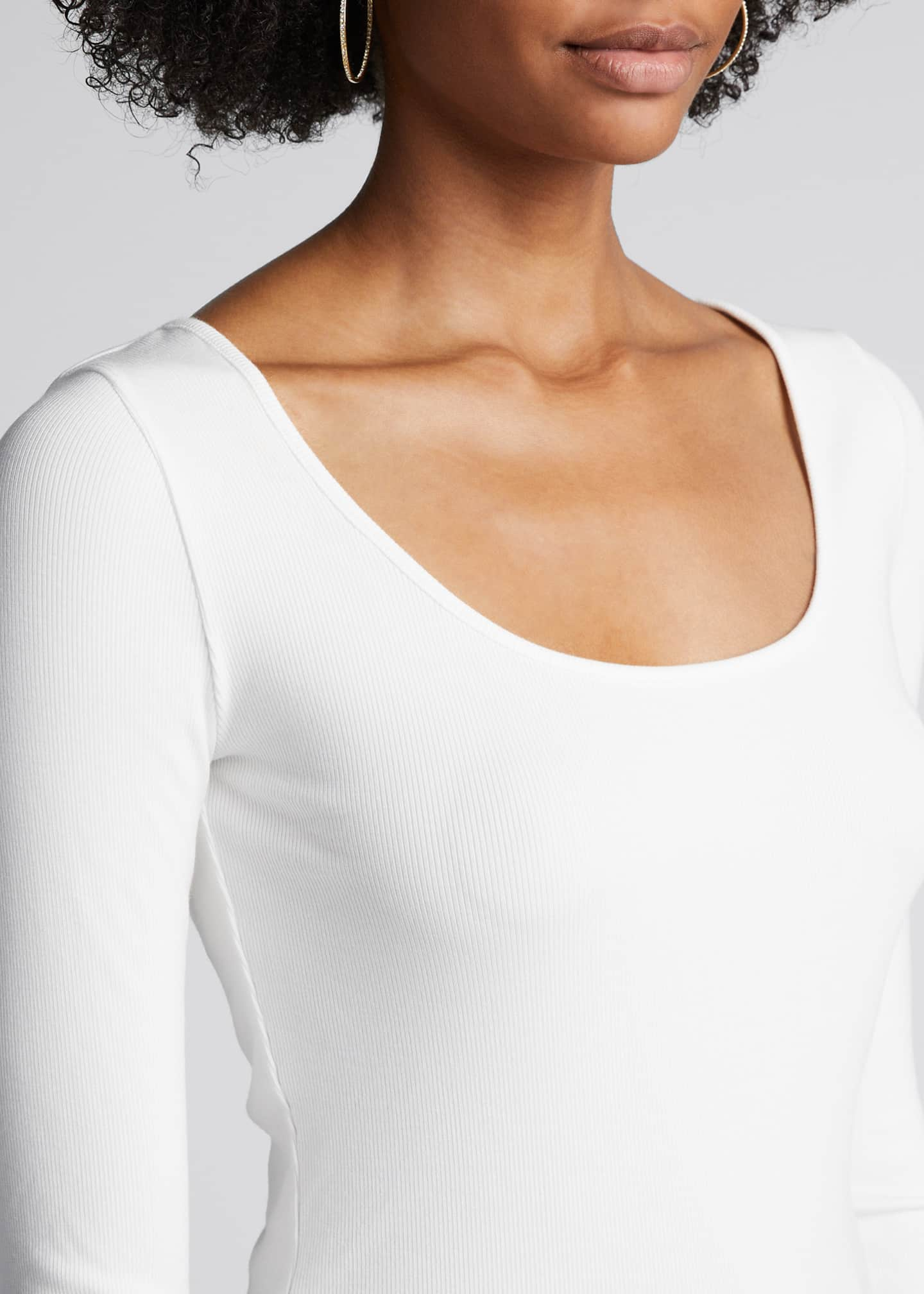 Image 4 of 5: Deep Scoop Neck Long-Sleeve Top