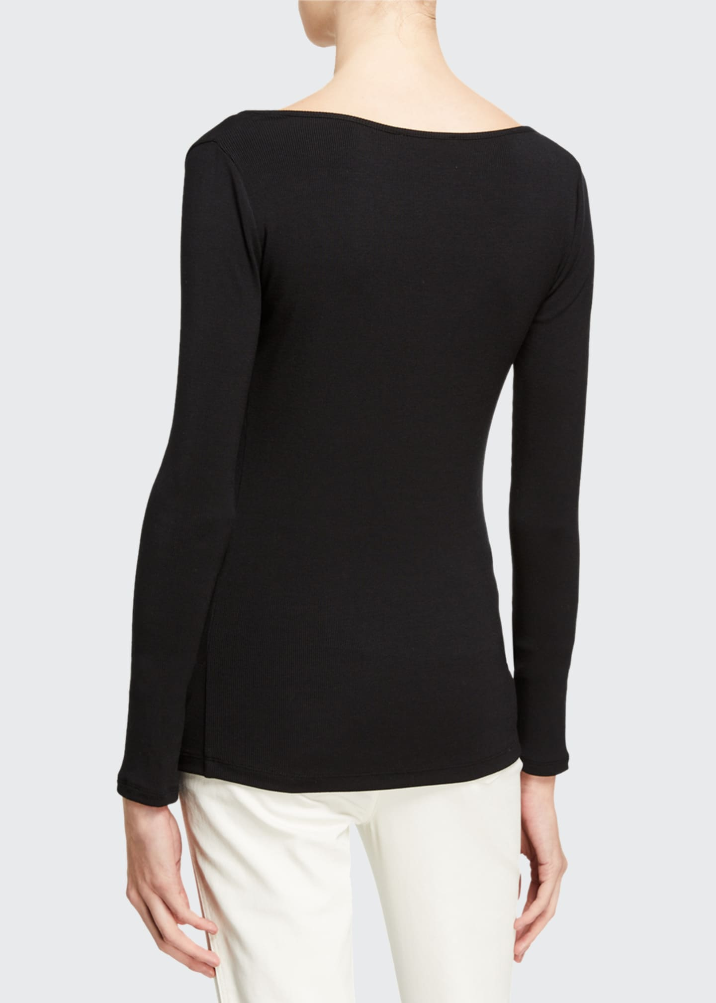 Image 2 of 2: Deep Scoop Neck Long-Sleeve Top