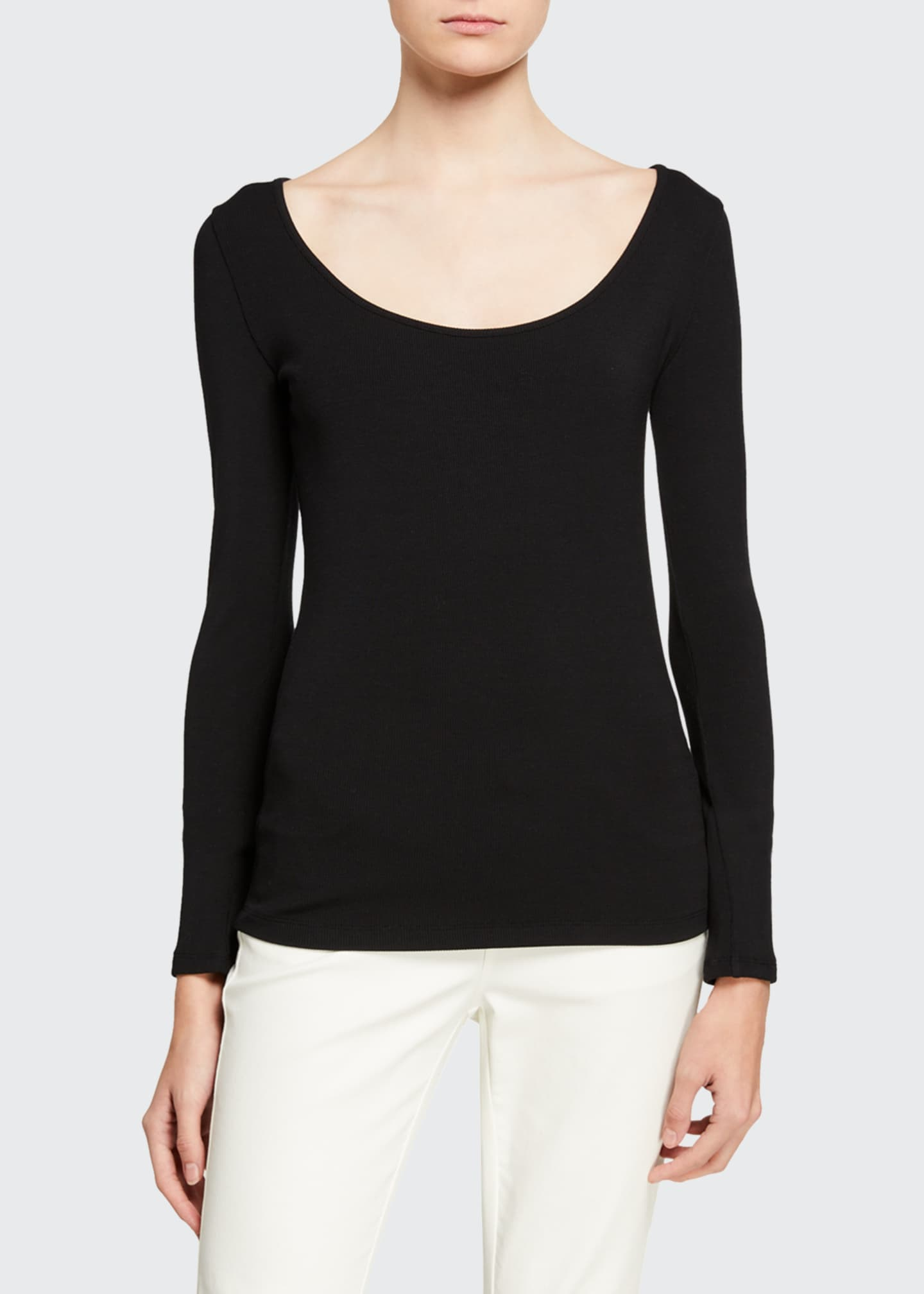 Image 1 of 2: Deep Scoop Neck Long-Sleeve Top