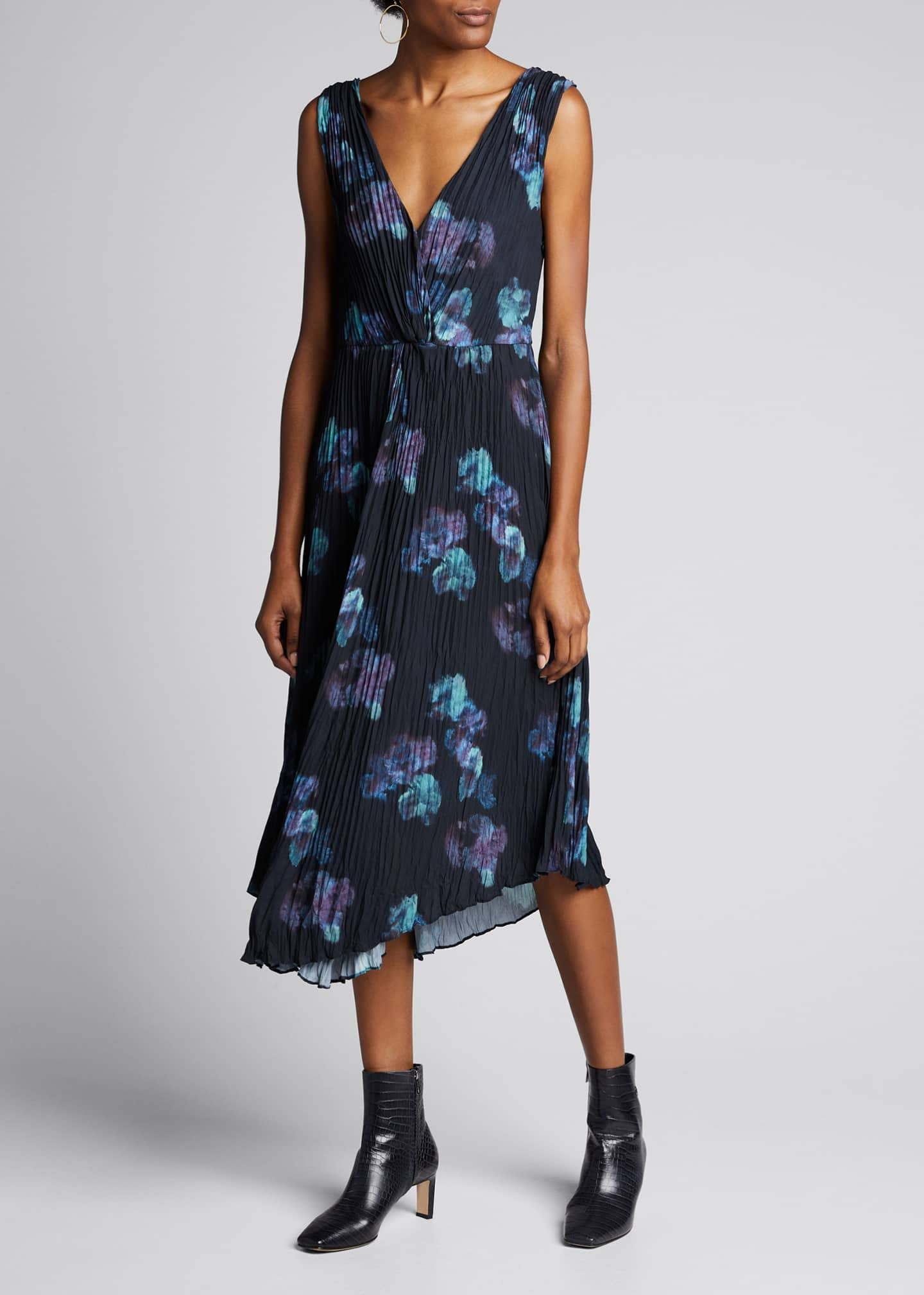 Image 3 of 5: Painted Floral Twist Front Sleeveless Crinkle Dress