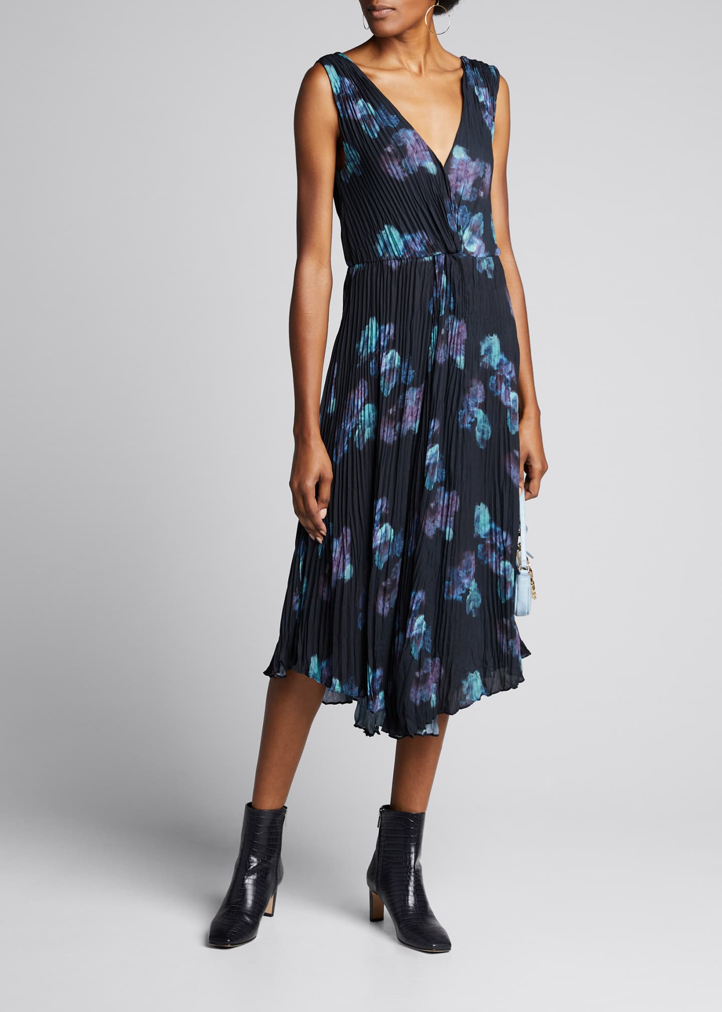 Image 1 of 5: Painted Floral Twist Front Sleeveless Crinkle Dress