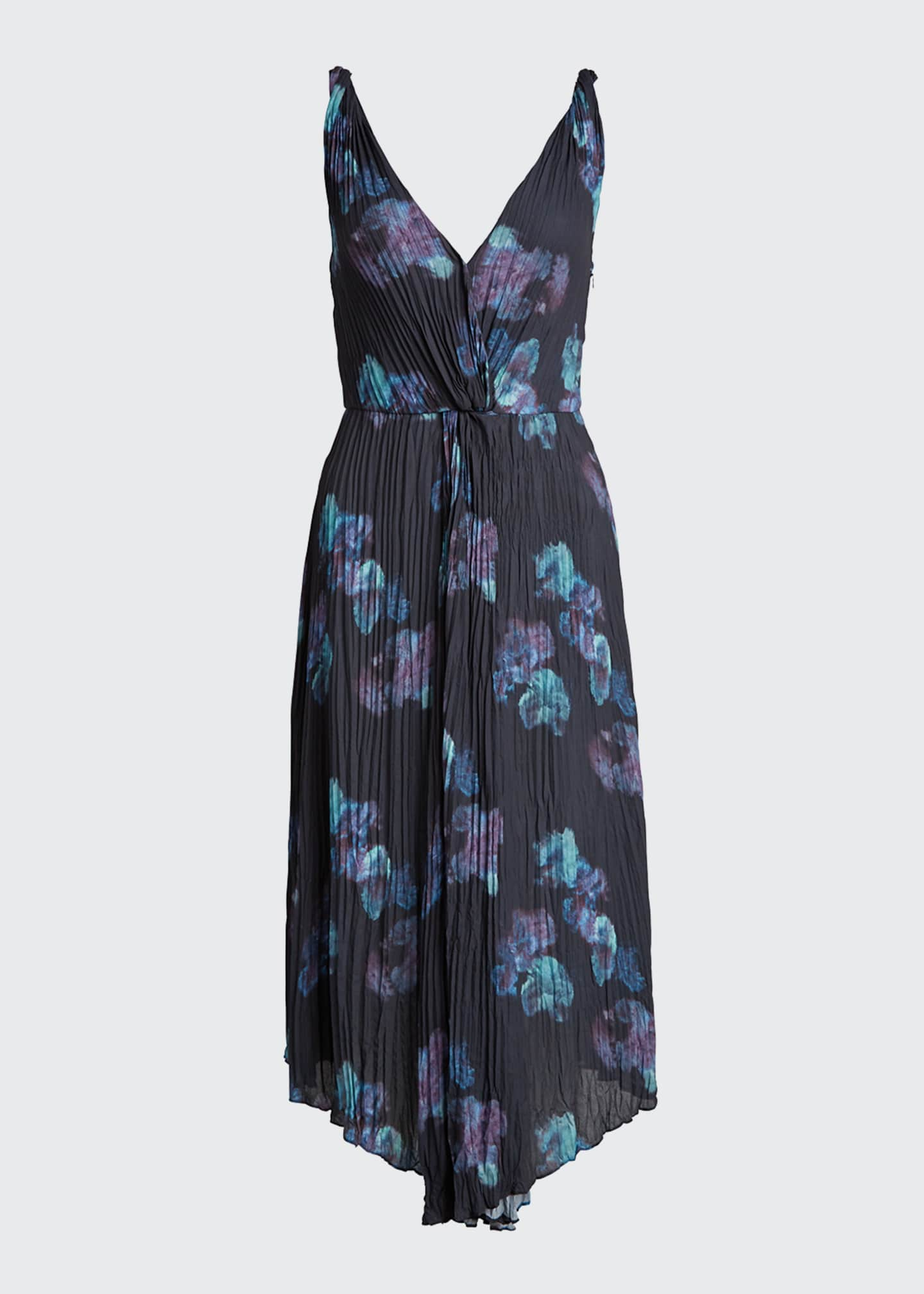 Image 5 of 5: Painted Floral Twist Front Sleeveless Crinkle Dress
