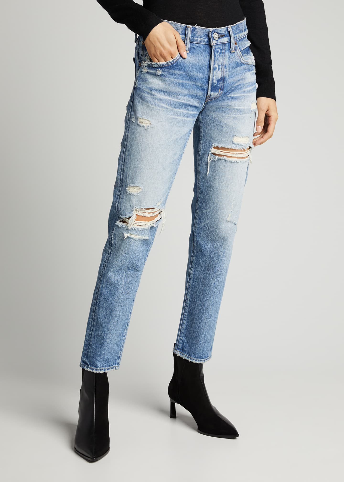 Image 3 of 5: Bowie Tapered Distressed Jeans