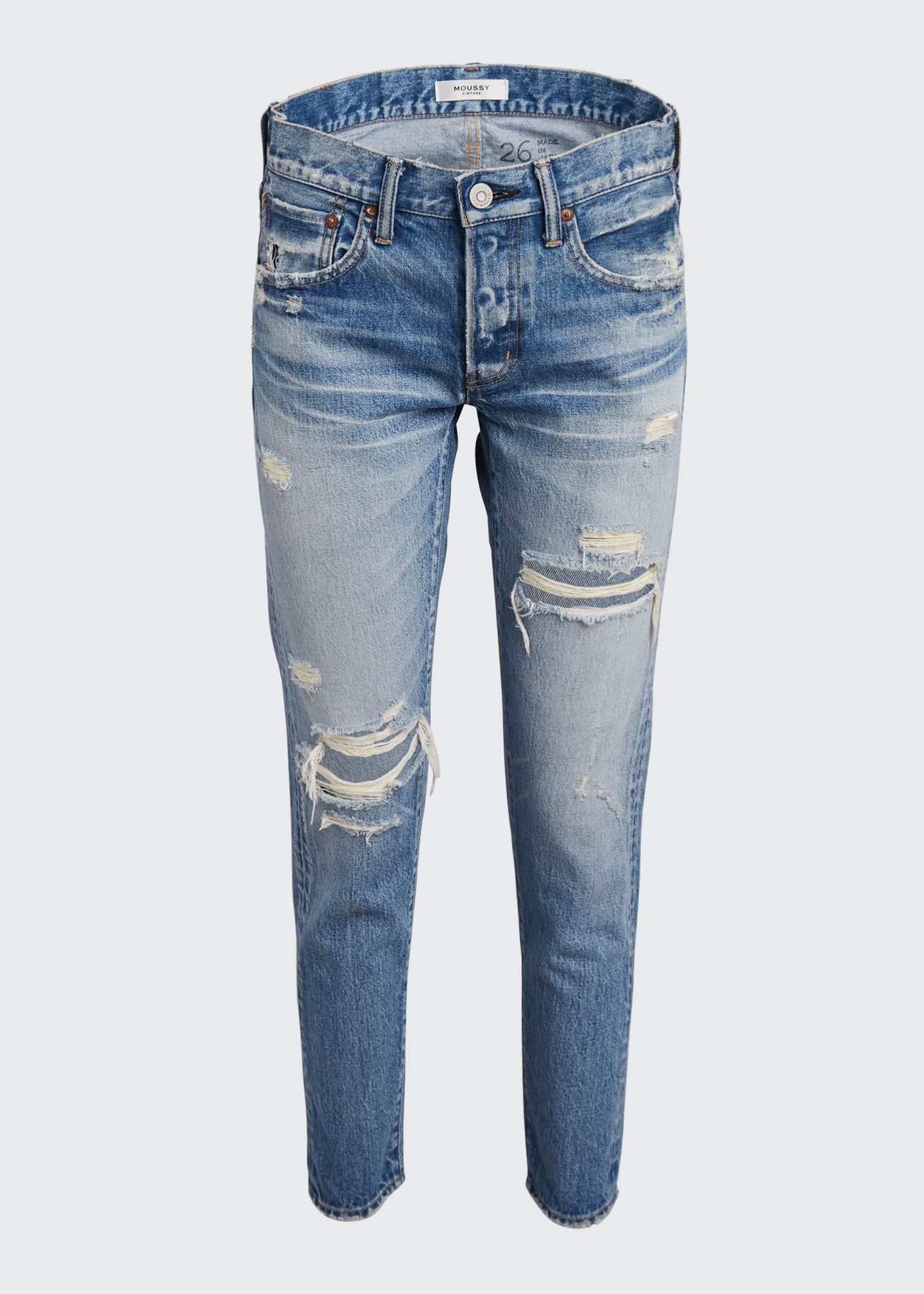 Image 5 of 5: Bowie Tapered Distressed Jeans