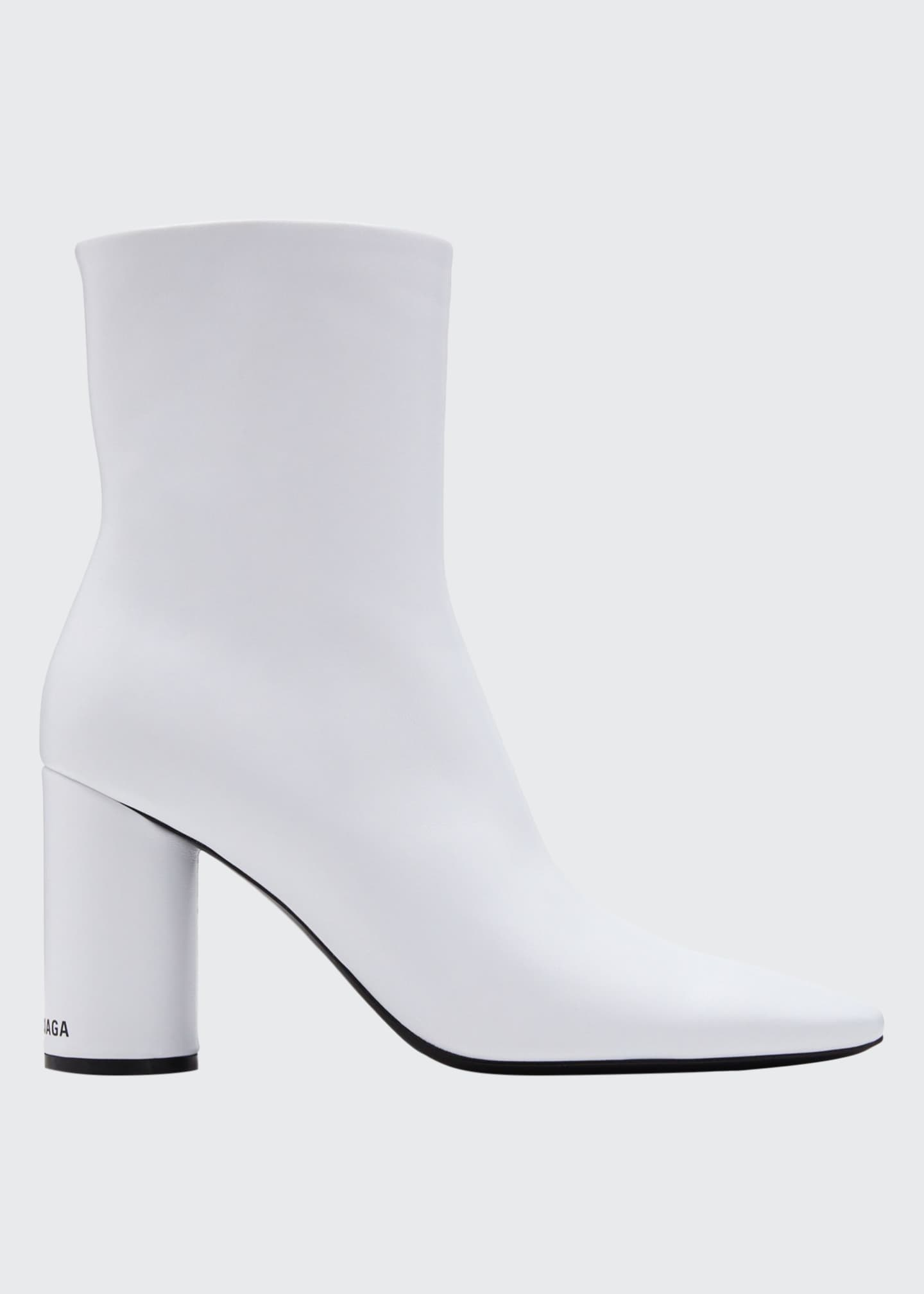 Balenciaga Oval-Heel Calf Leather Zip Booties