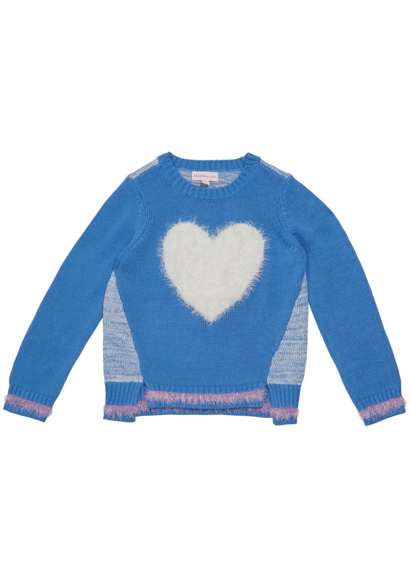 Design History Girls Girl's Eyelash Fringe Heart Sweater,