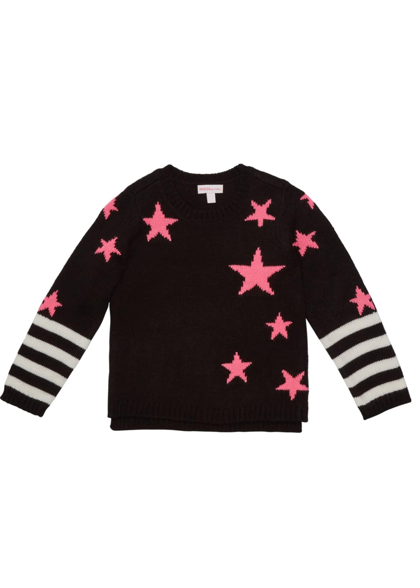 Design History Girls Girl's Star Striped Sweater, Size