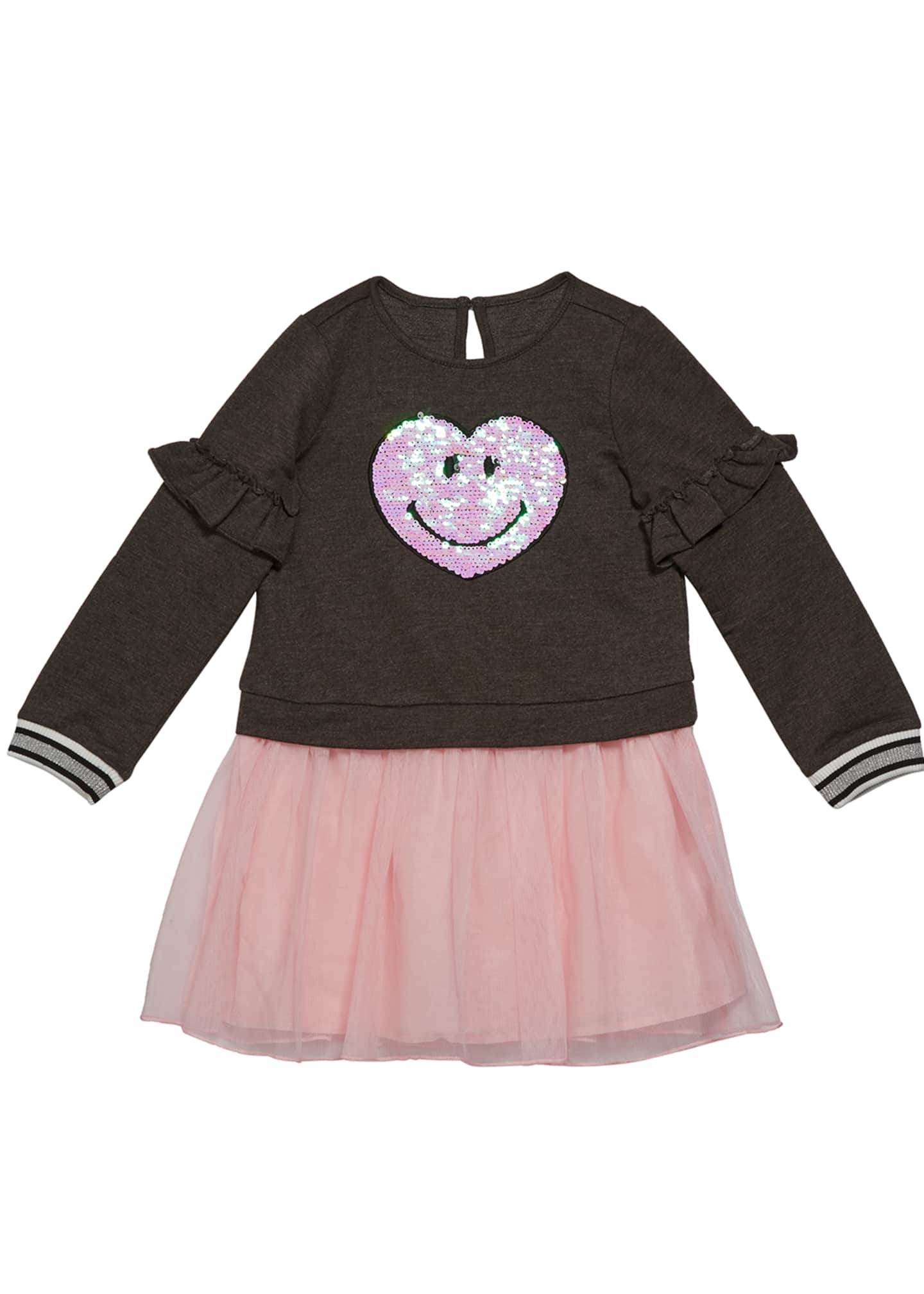 Design History Girls Girl's Sequin Smiley Sweatshirt Dress