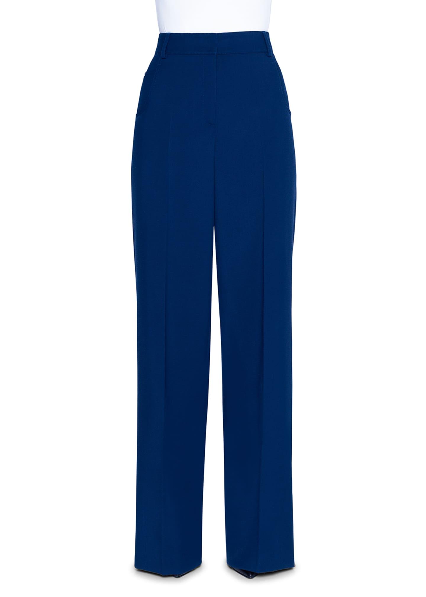 Akris Wide-Leg Tricotine Pants, Navy