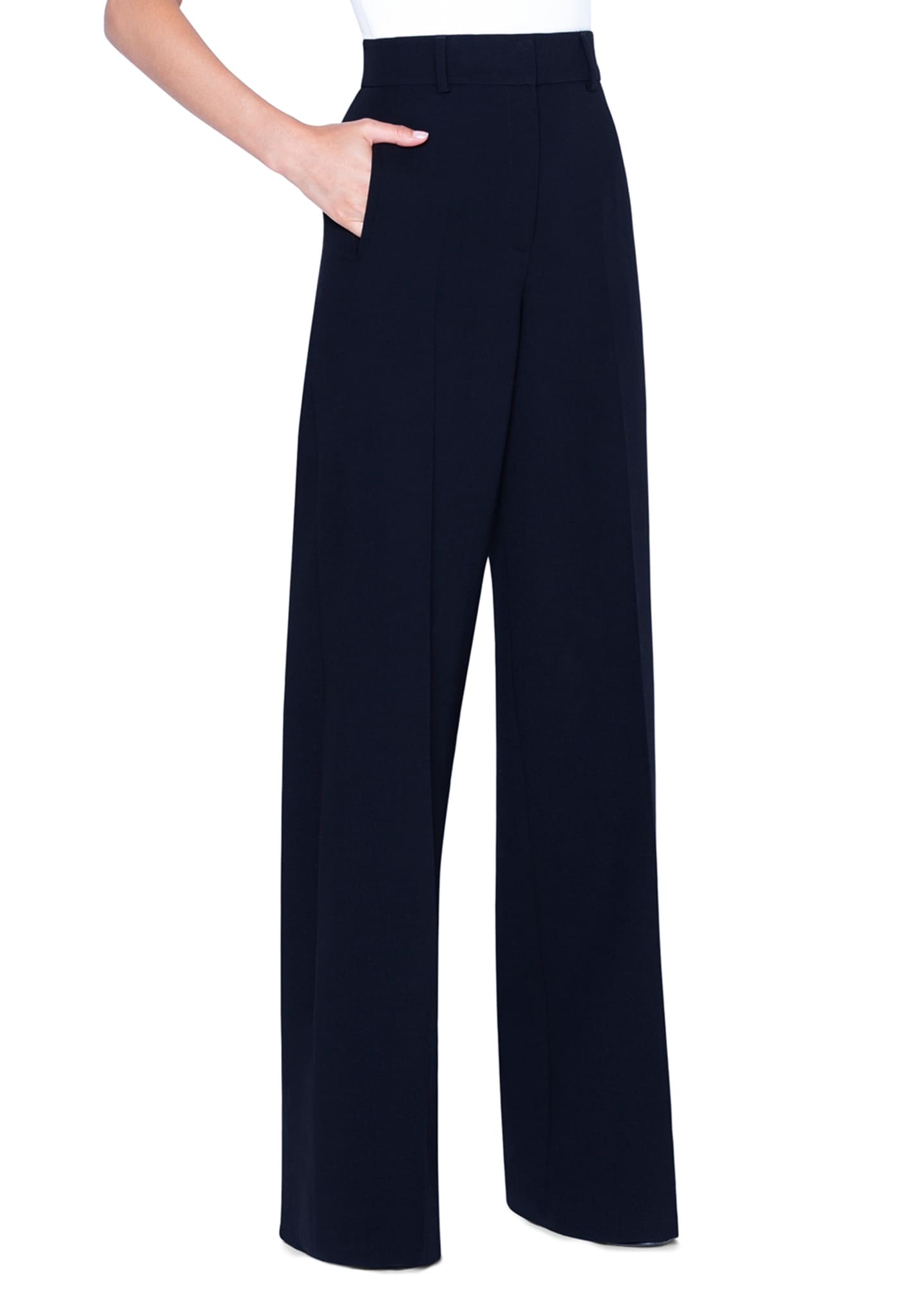 Image 3 of 3: Flore Wool Wide-Leg Pants