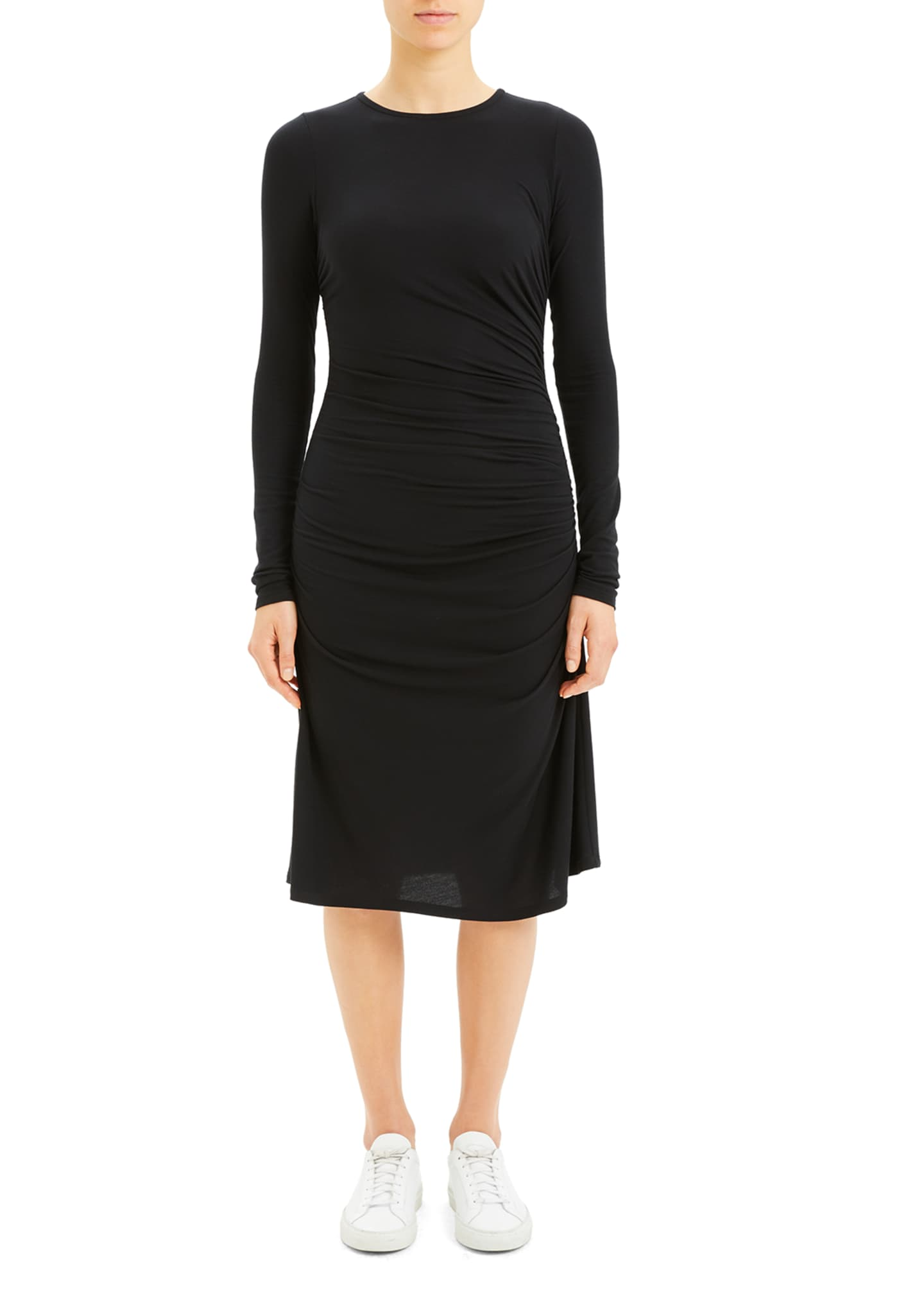 Image 2 of 4: Long-Sleeve Gathered Waist Dress
