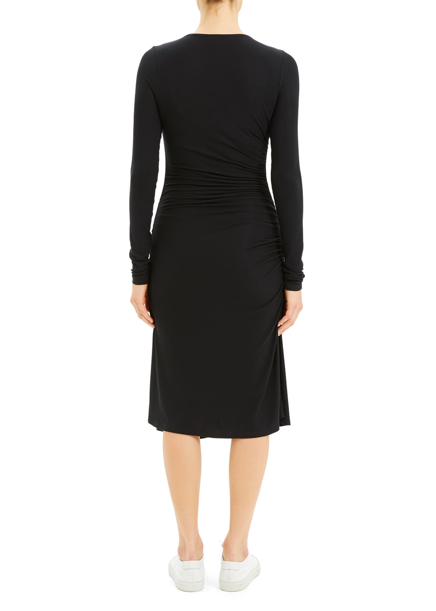 Image 3 of 4: Long-Sleeve Gathered Waist Dress