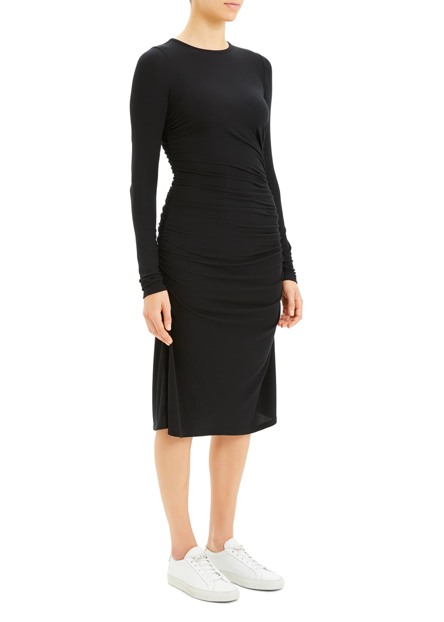 Image 4 of 4: Long-Sleeve Gathered Waist Dress