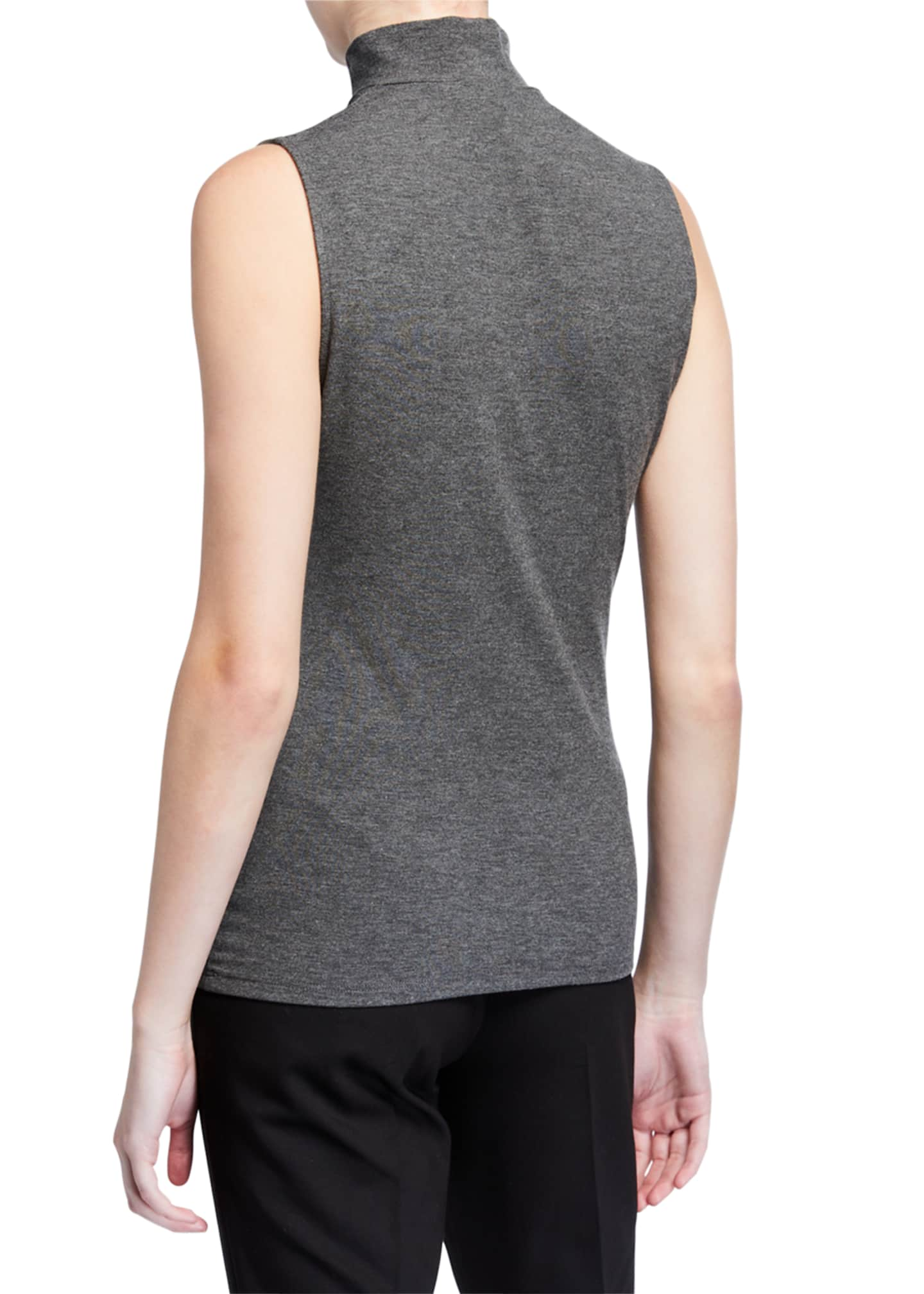 Image 2 of 2: Sleeveless Viscose Turtleneck Top