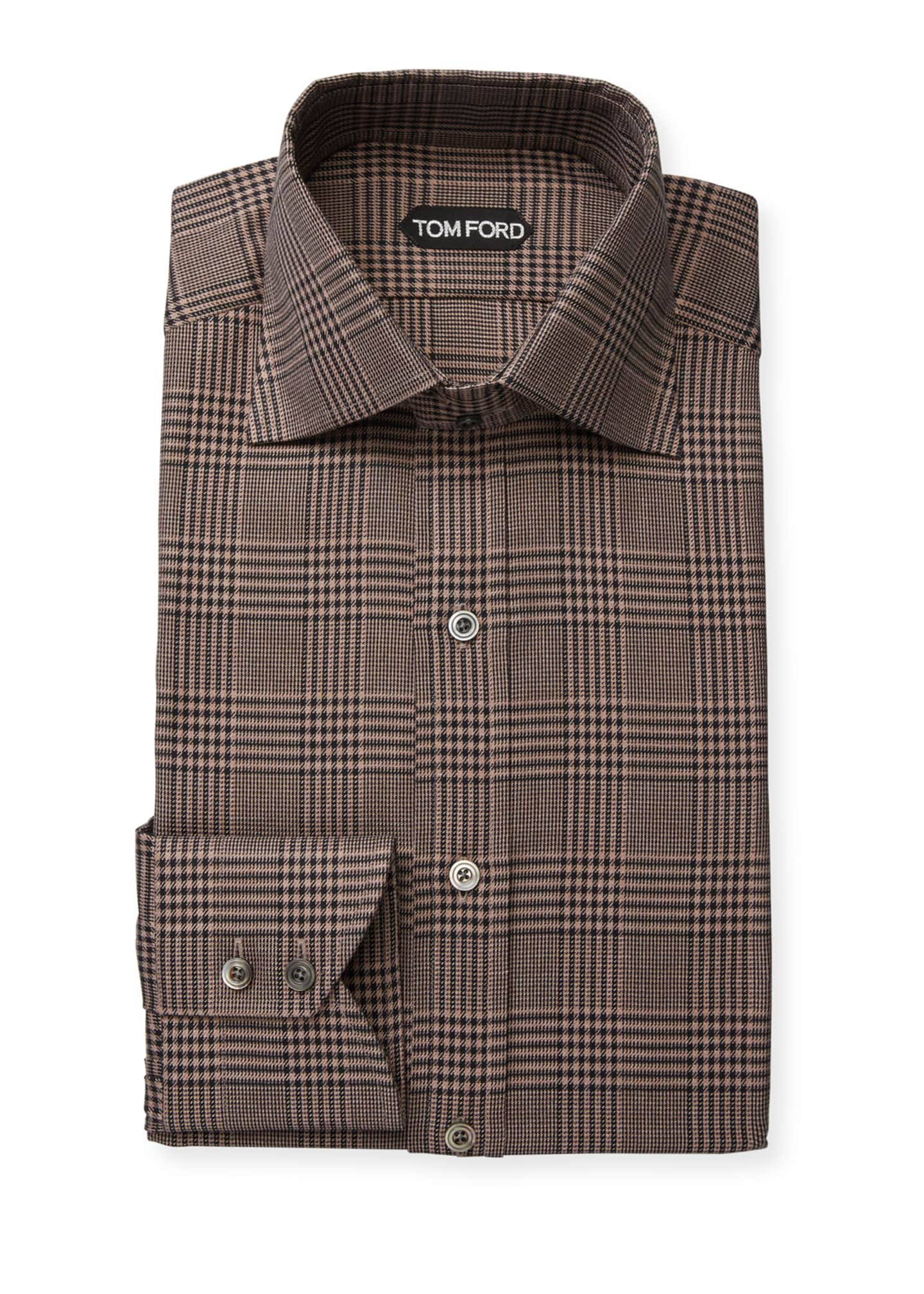 Image 1 of 2: Men's Plaid Cotton Dress Shirt