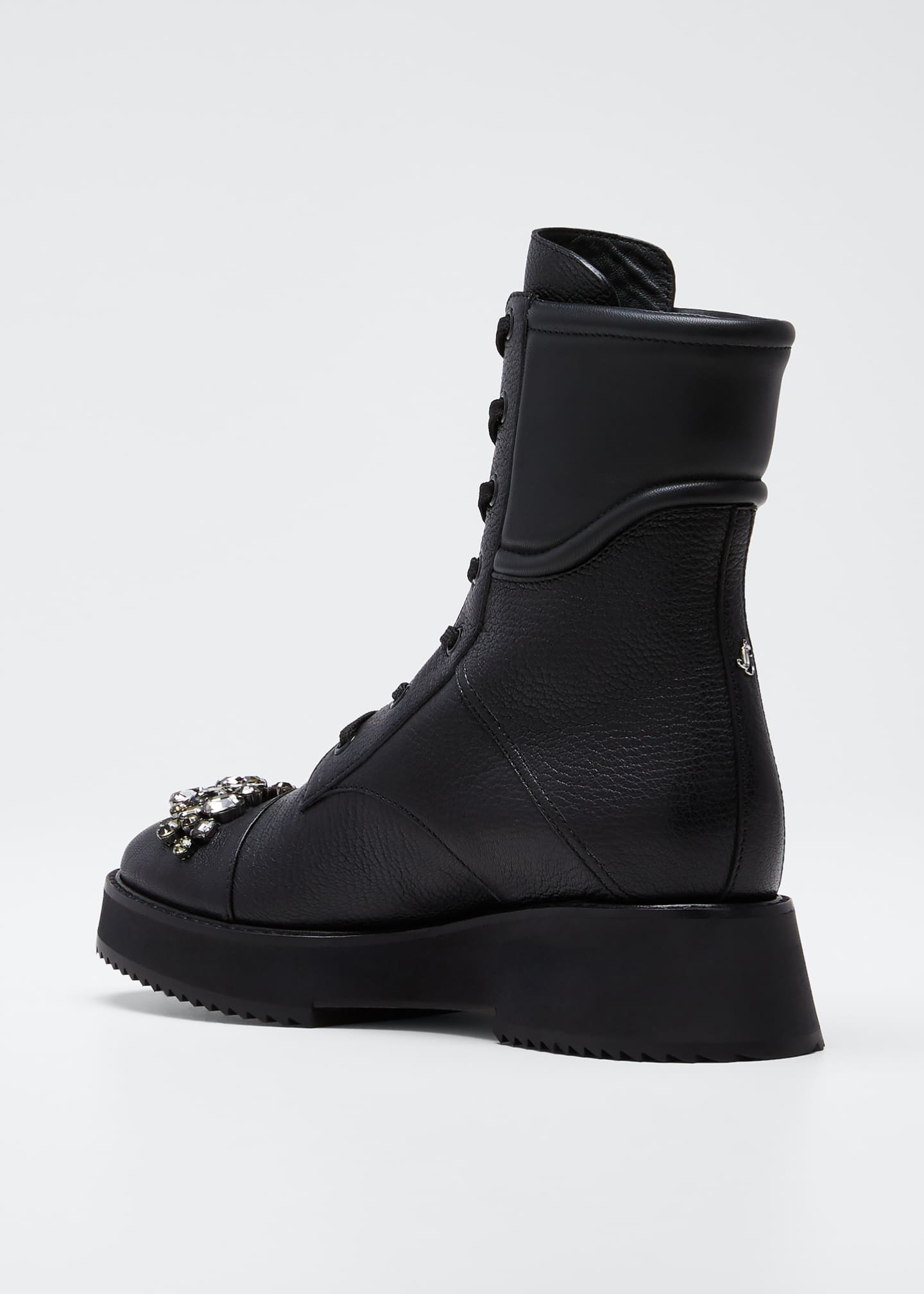 Image 4 of 5: Bren Lace-Up Booties with Crystals