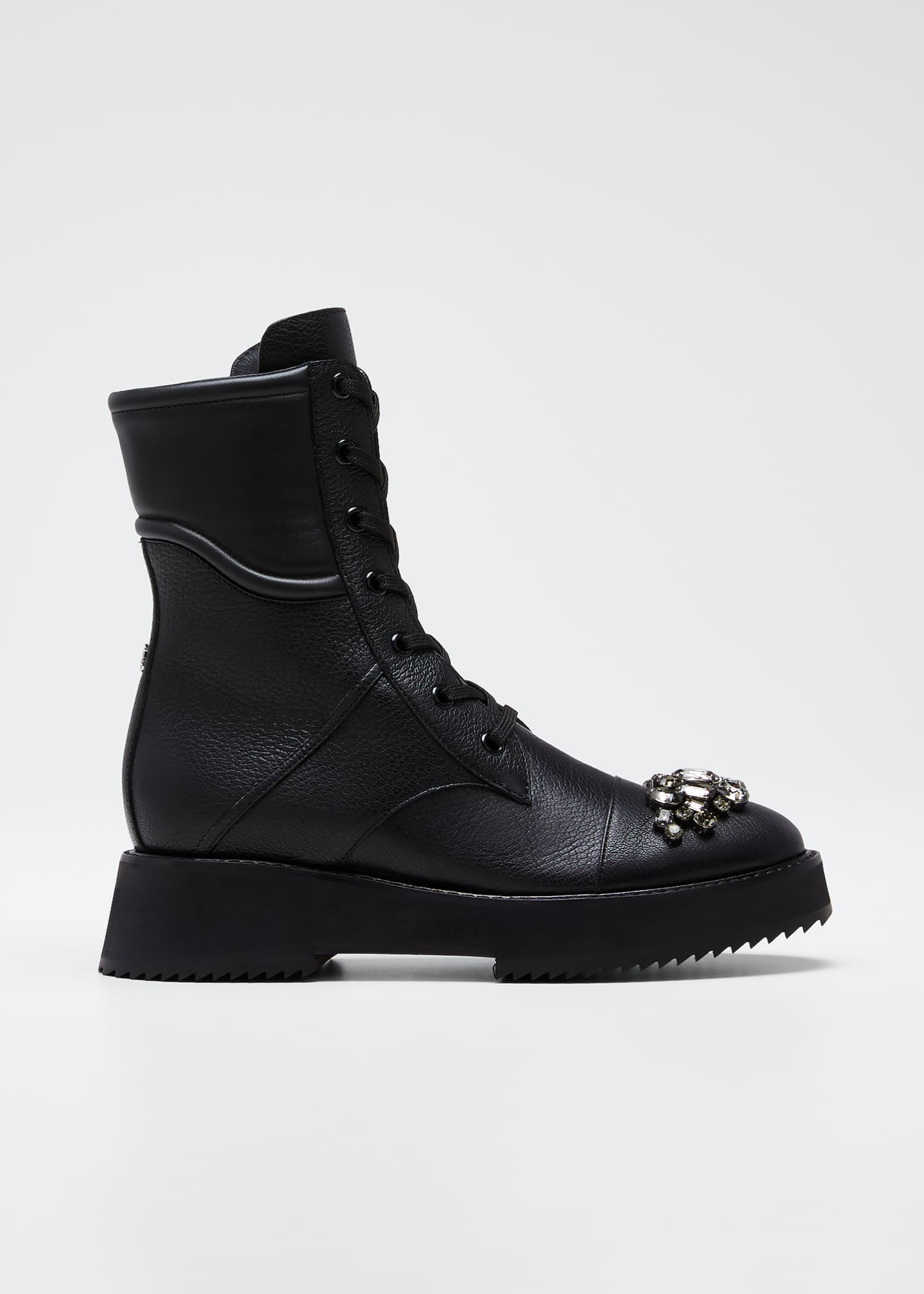 Image 1 of 5: Bren Lace-Up Booties with Crystals