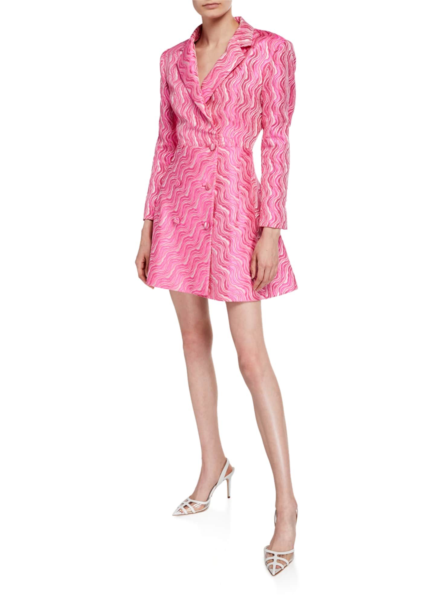 Rotate Birger Christensen Double-Breasted Jacquard Short Dress