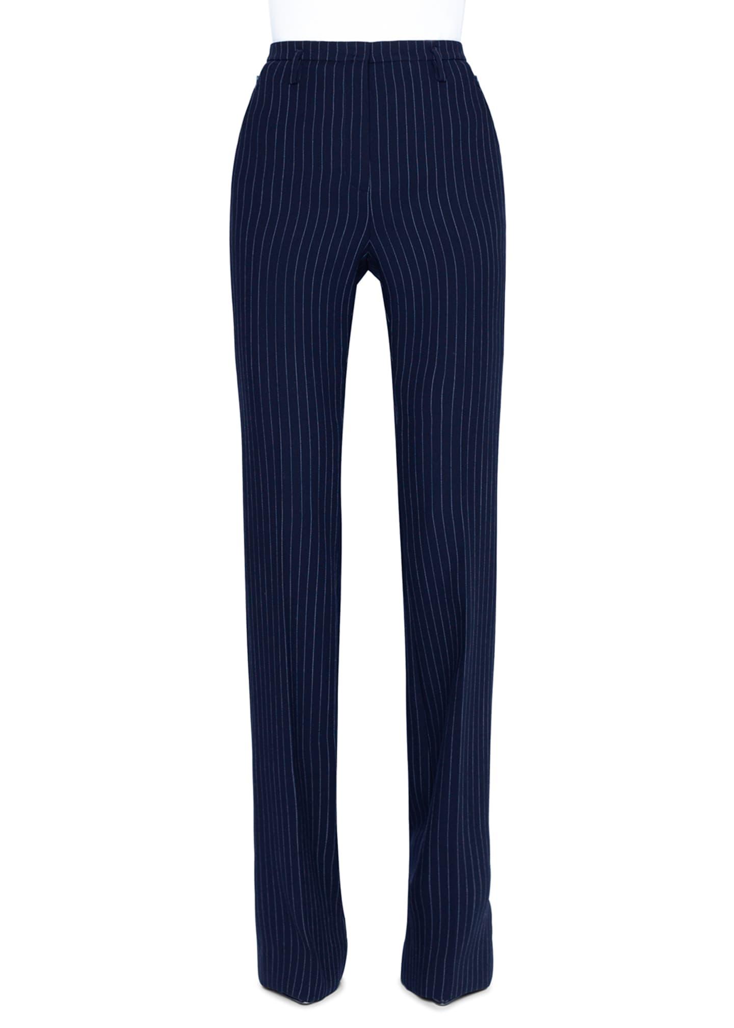 Akris Farah Pinstriped Wool Straight-Leg Pants