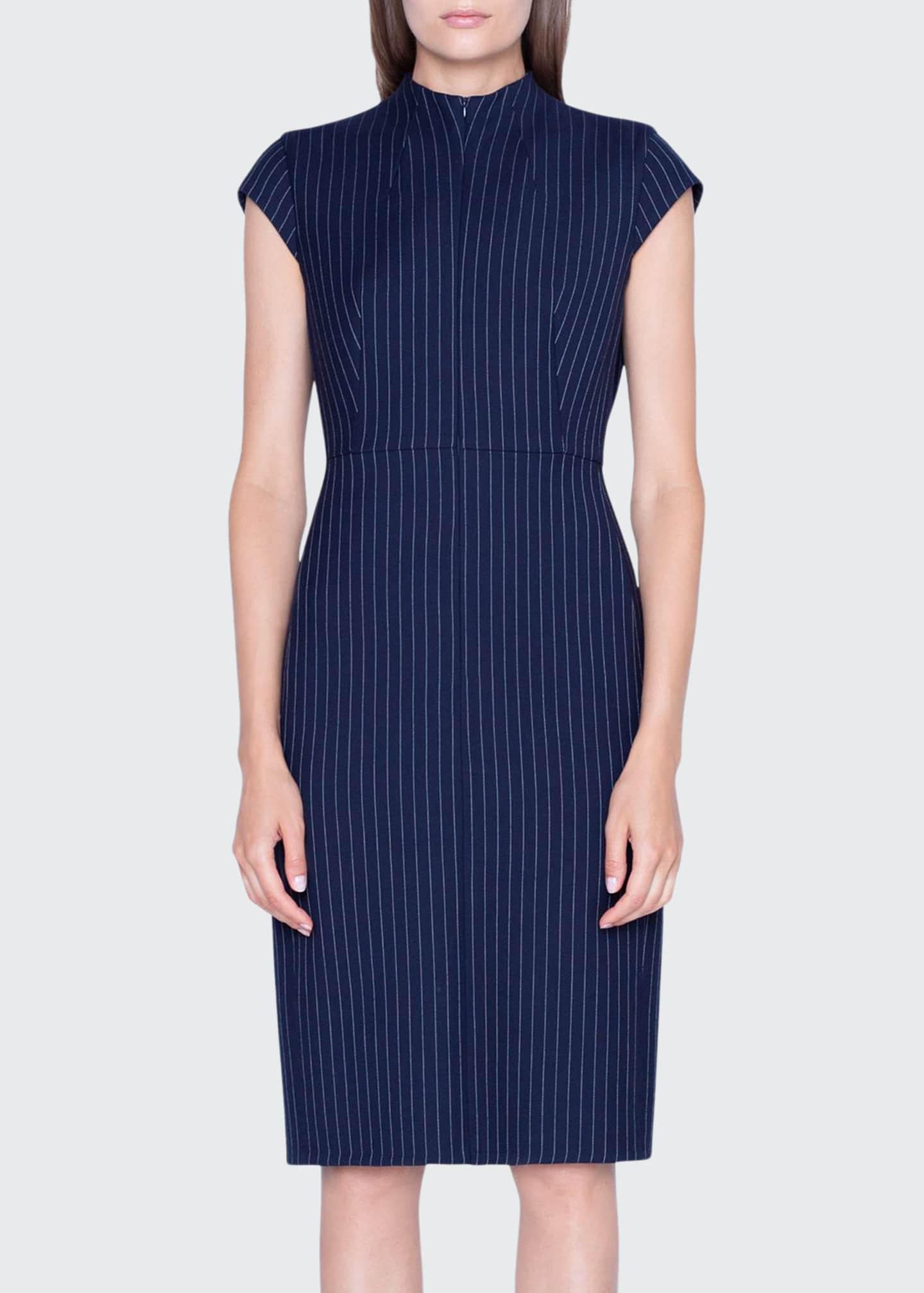 Akris Pinstriped Wool Cap-Sleeve Dress