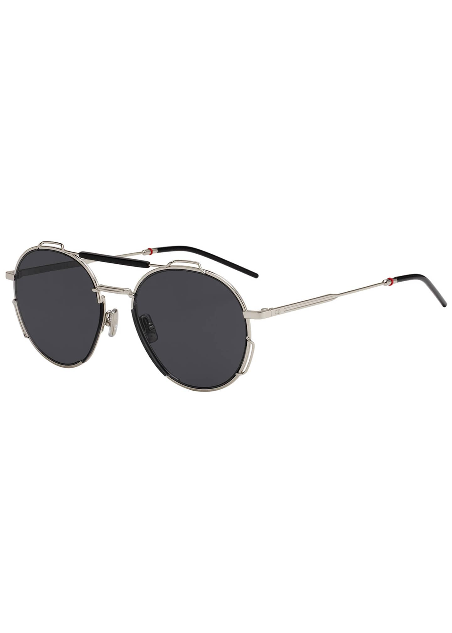 Image 1 of 1: Men's Round Lightweight Sunglasses w/ Wire Accents
