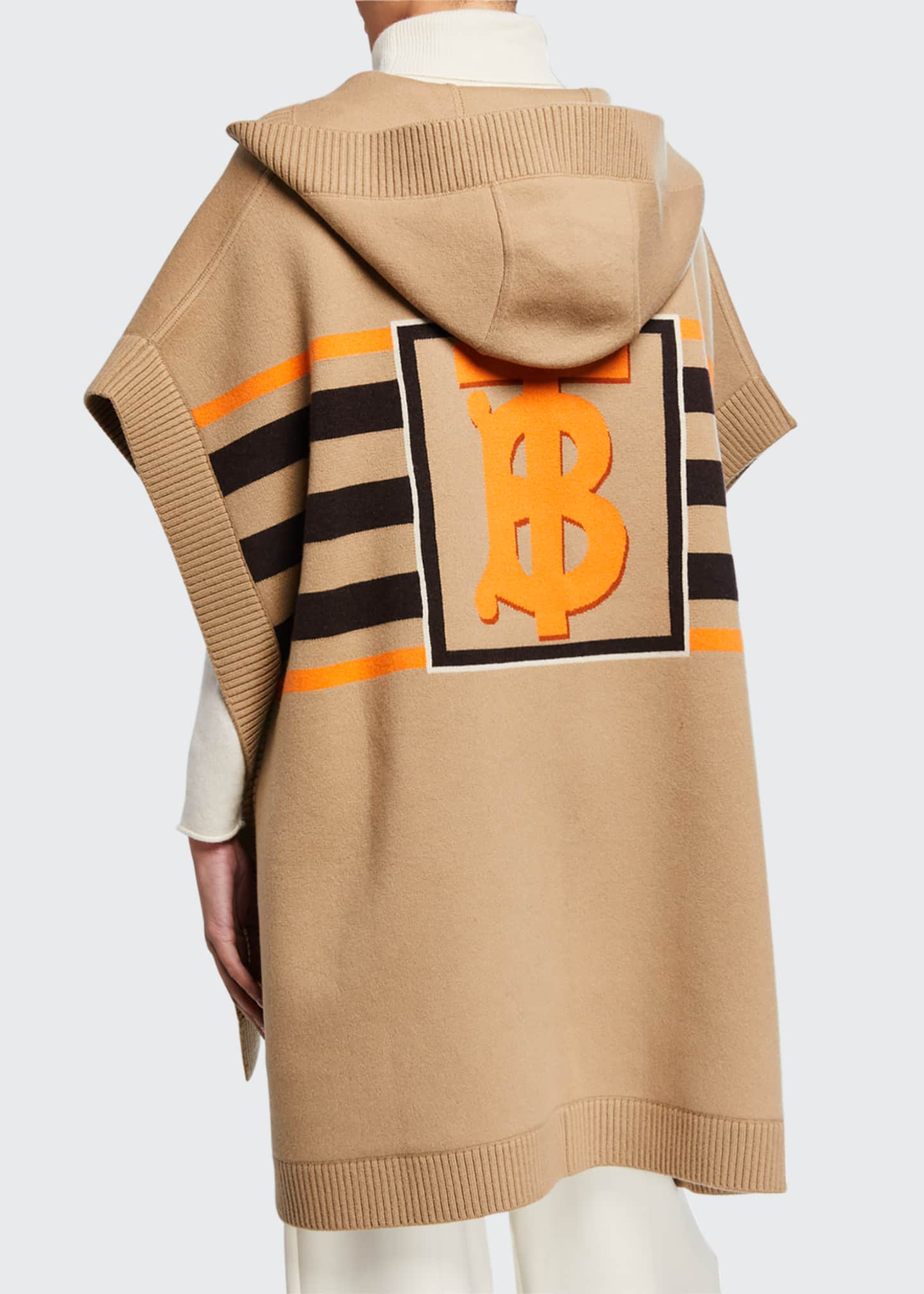 Image 2 of 2: Carla Wool-Cashmere TB Monogram Cape