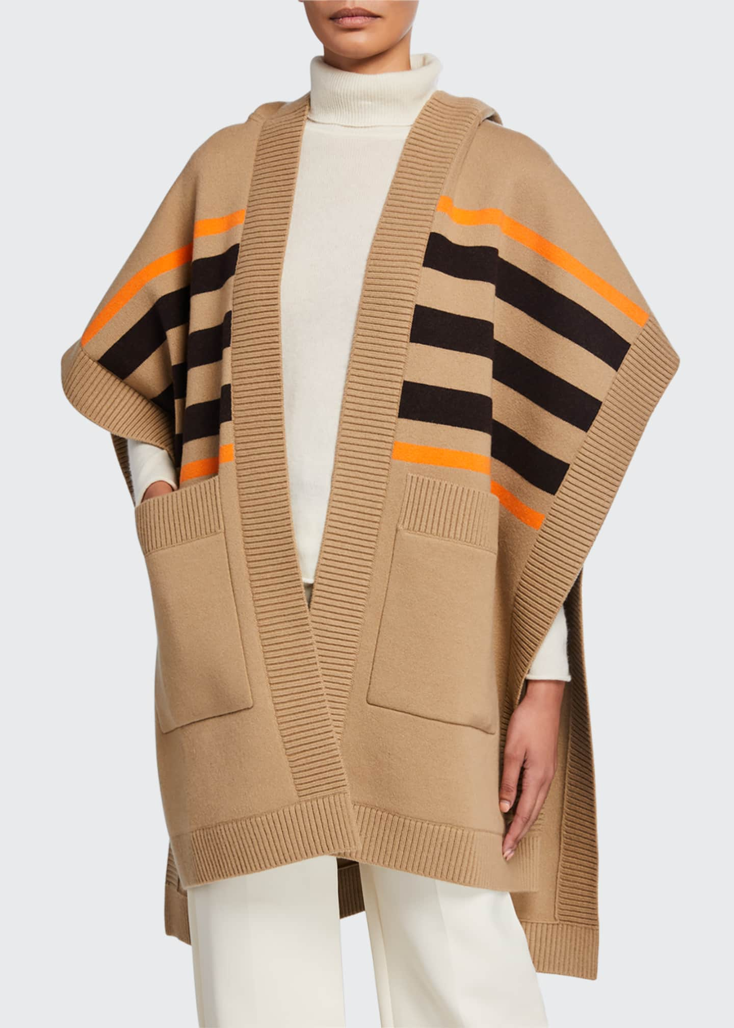 Image 1 of 2: Carla Wool-Cashmere TB Monogram Cape