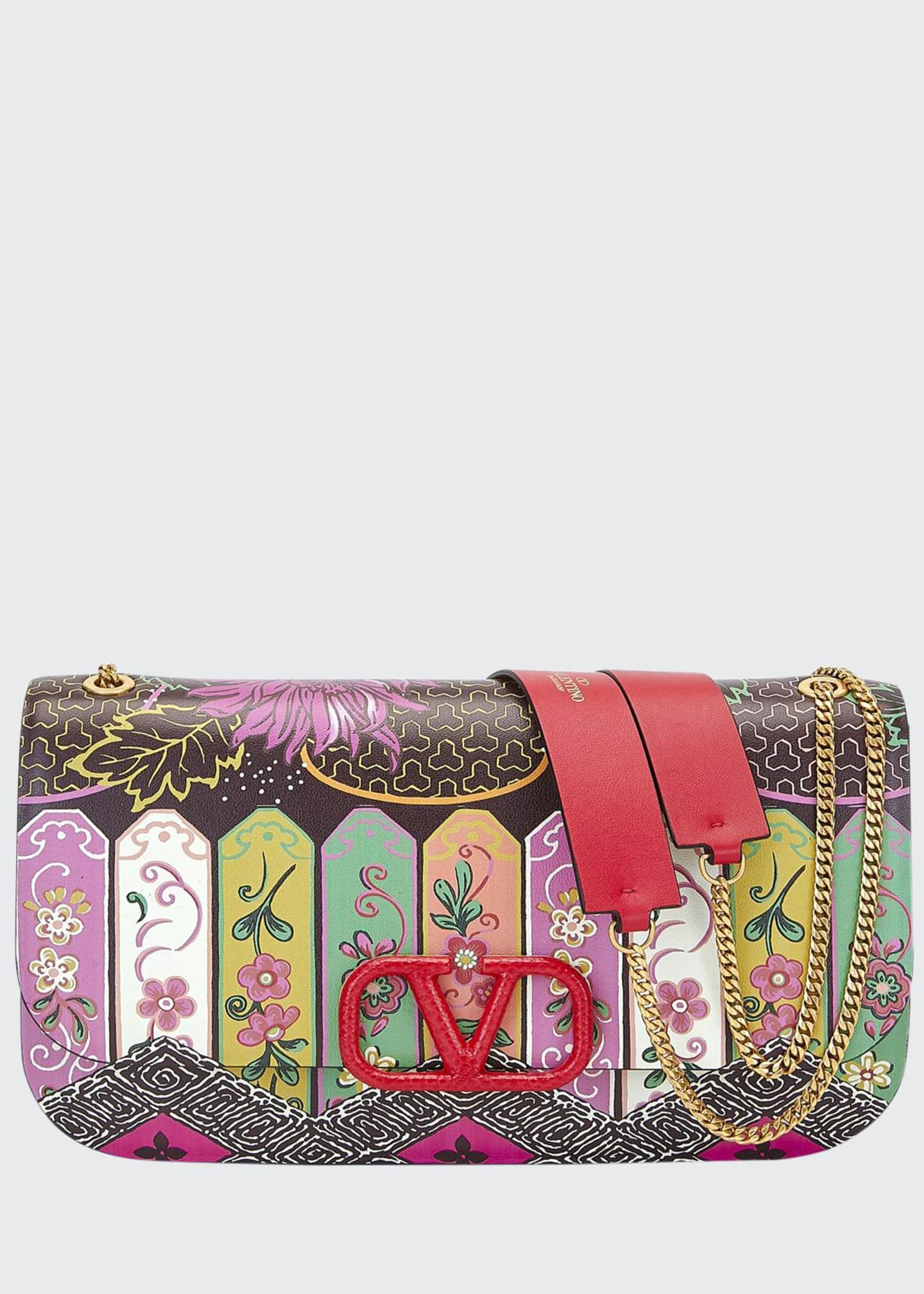 Valentino Garavani VLOCK Flower Shoulder Bag with Snakeskin