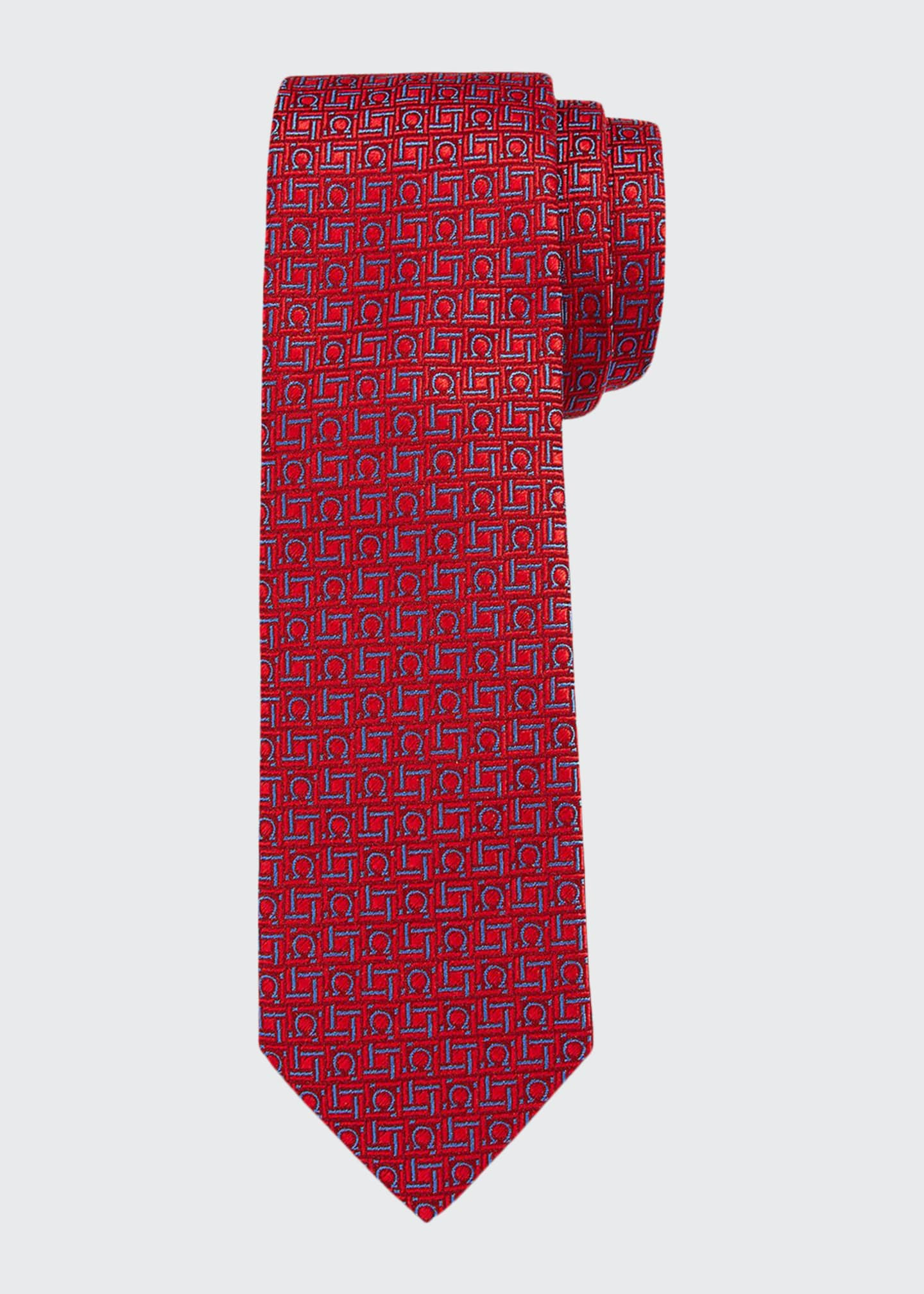 Image 1 of 1: Laos Boxed Silk Tie, Red