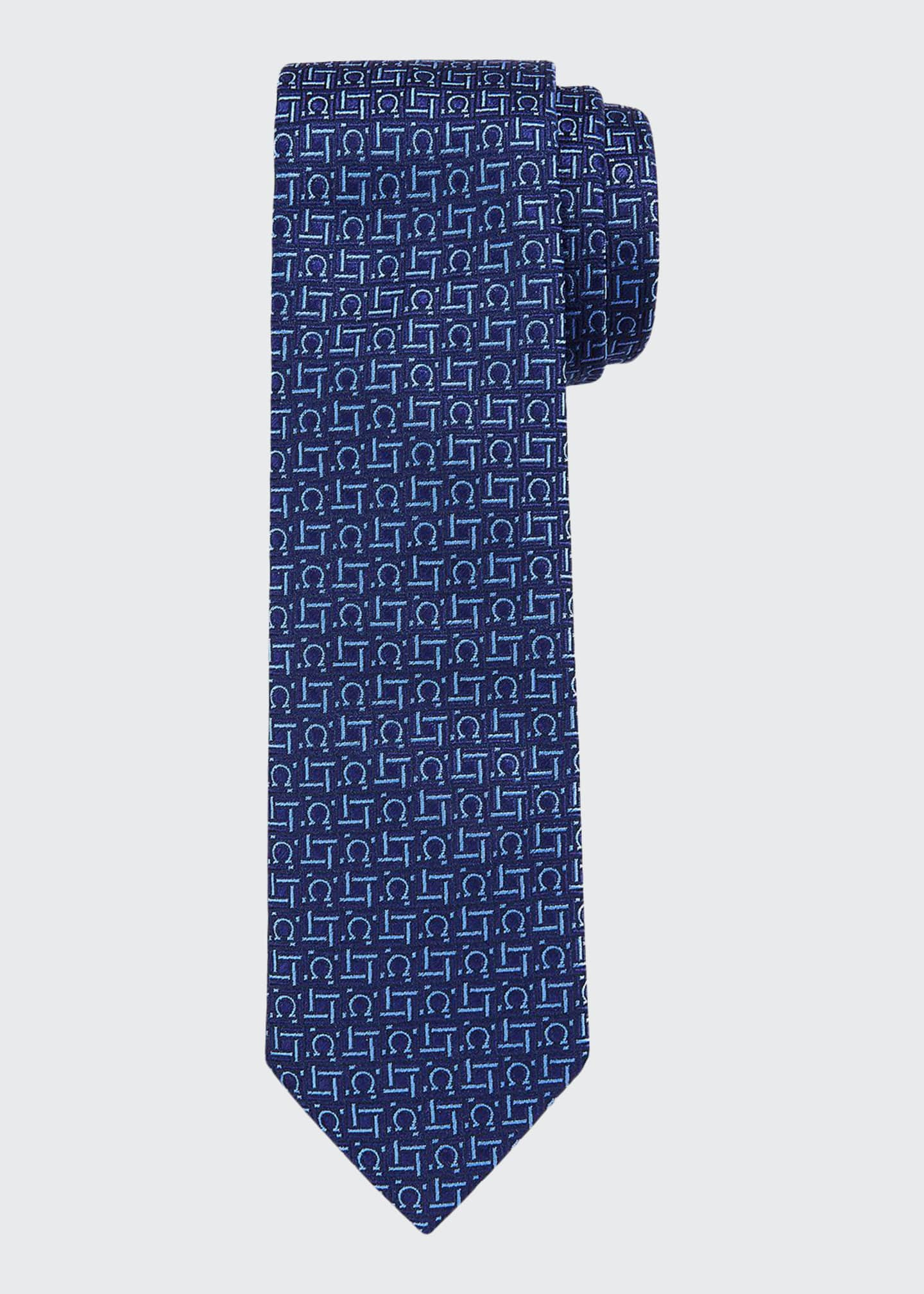 Image 1 of 1: Laos Boxed Silk Tie, Blue