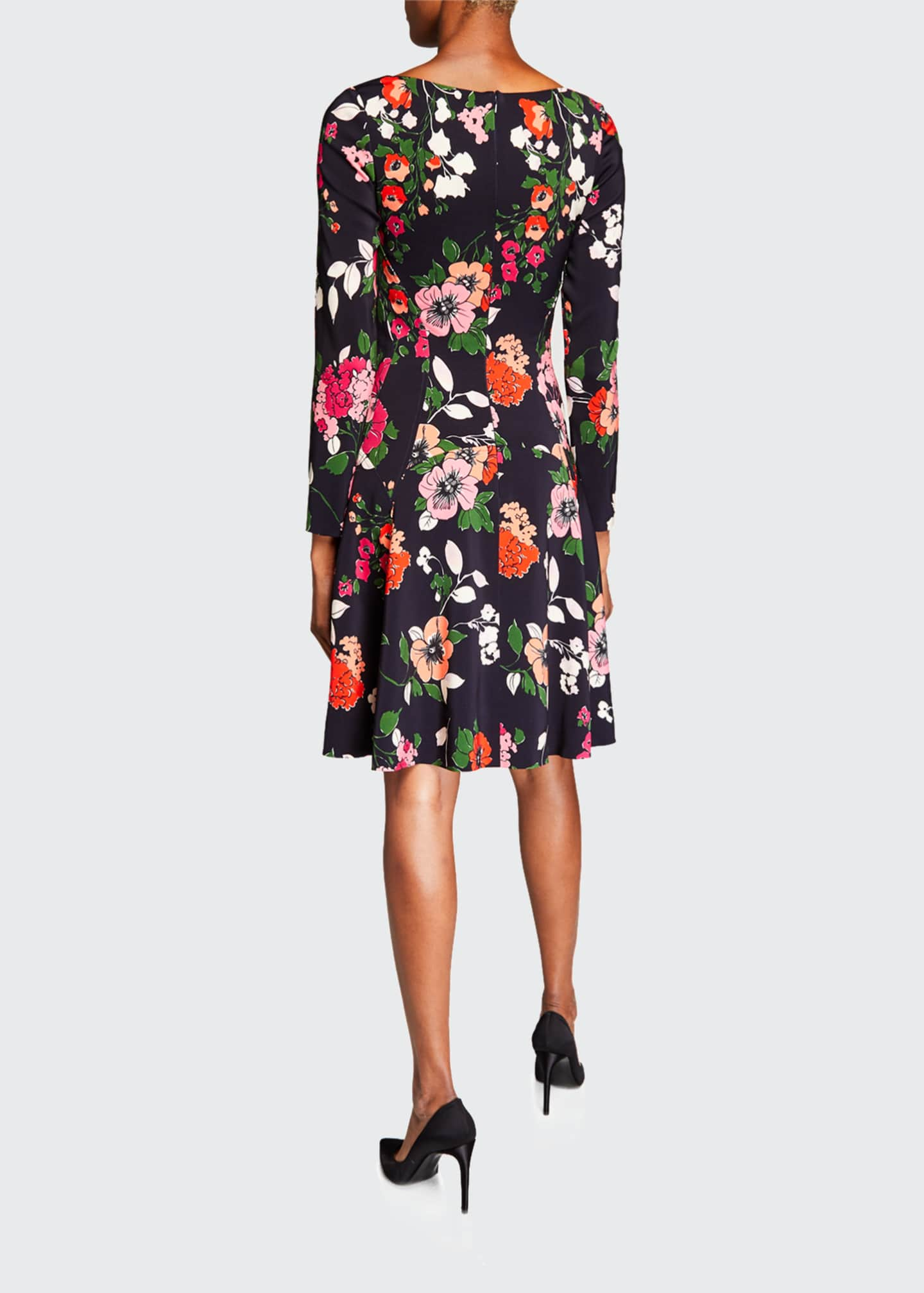 Image 2 of 2: Floral-Print 3/4-Sleeve Dress