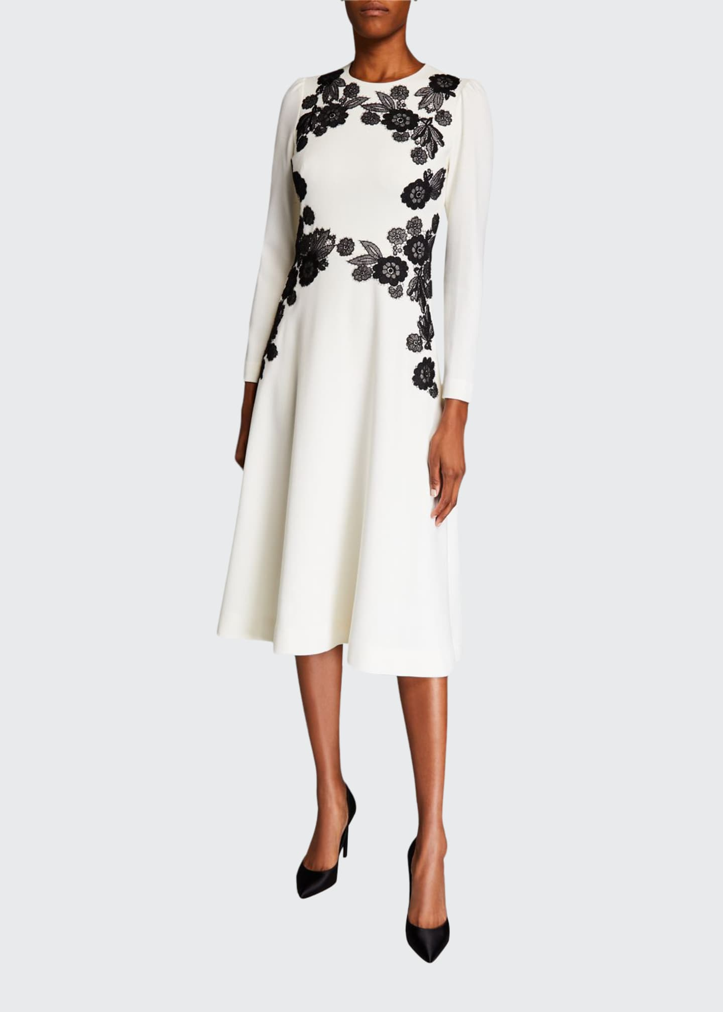 Lela Rose Lace Embroidered A Line Dress