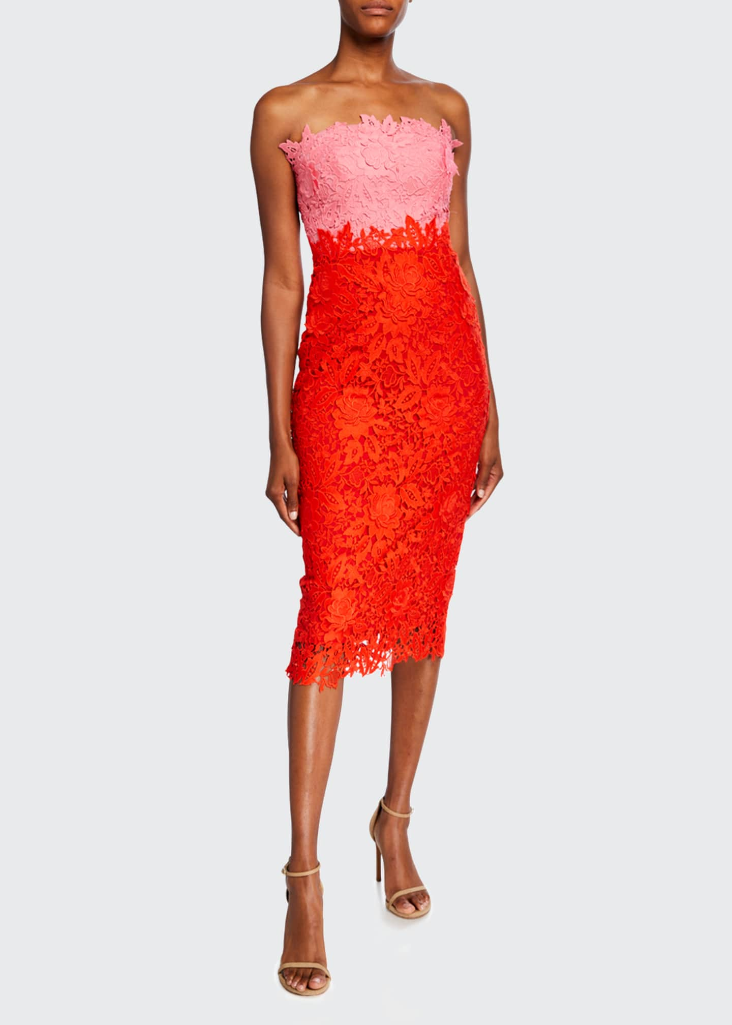 Image 1 of 5: Colorblocked Chantilly Lace Sheath Dress