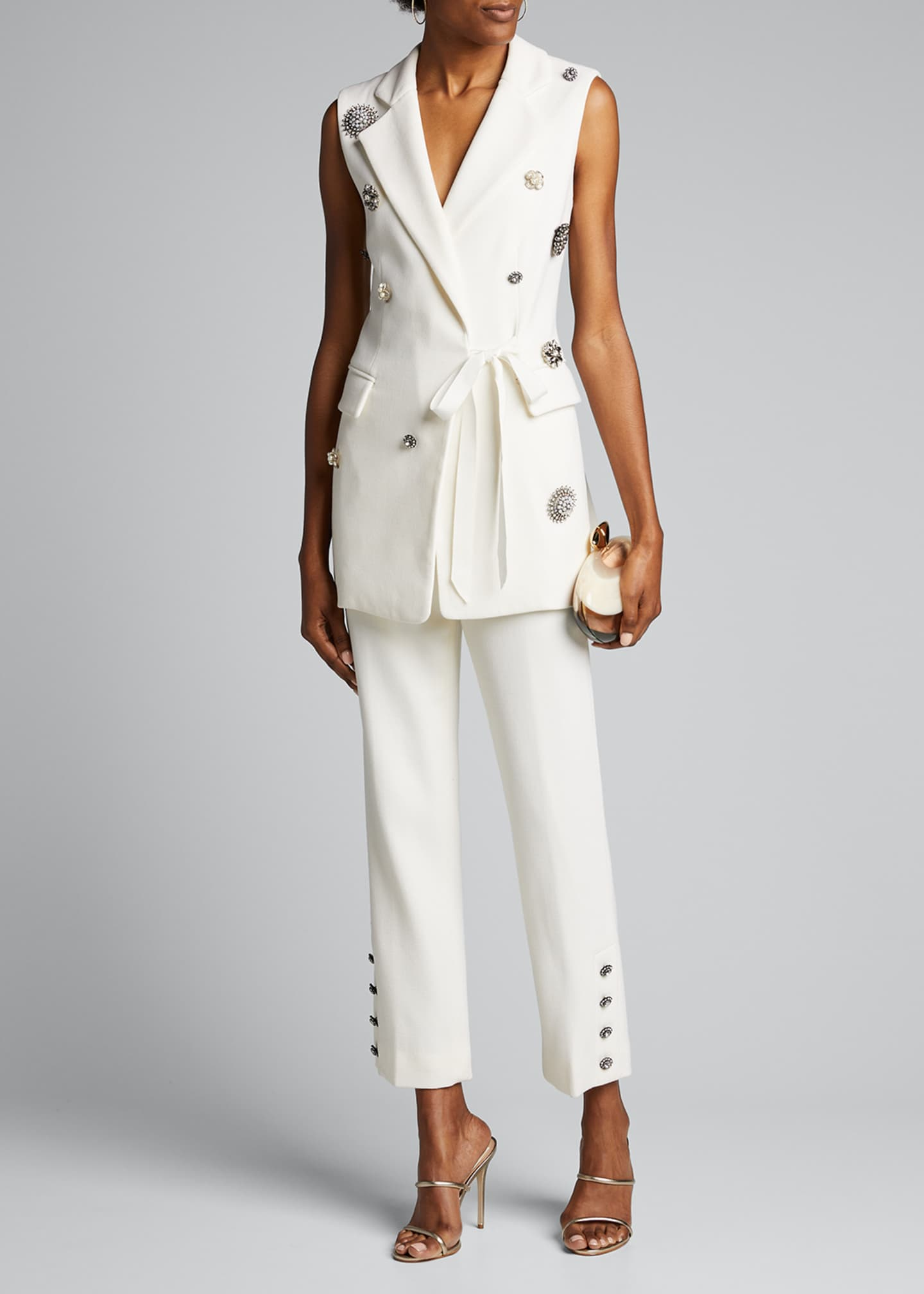Lela Rose Crystal Button Crepe Wrap Vest