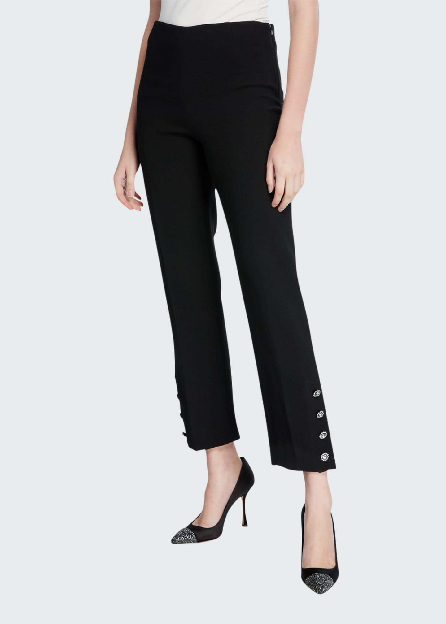 Lela Rose Crepe Crystal Button-Cuff Pants