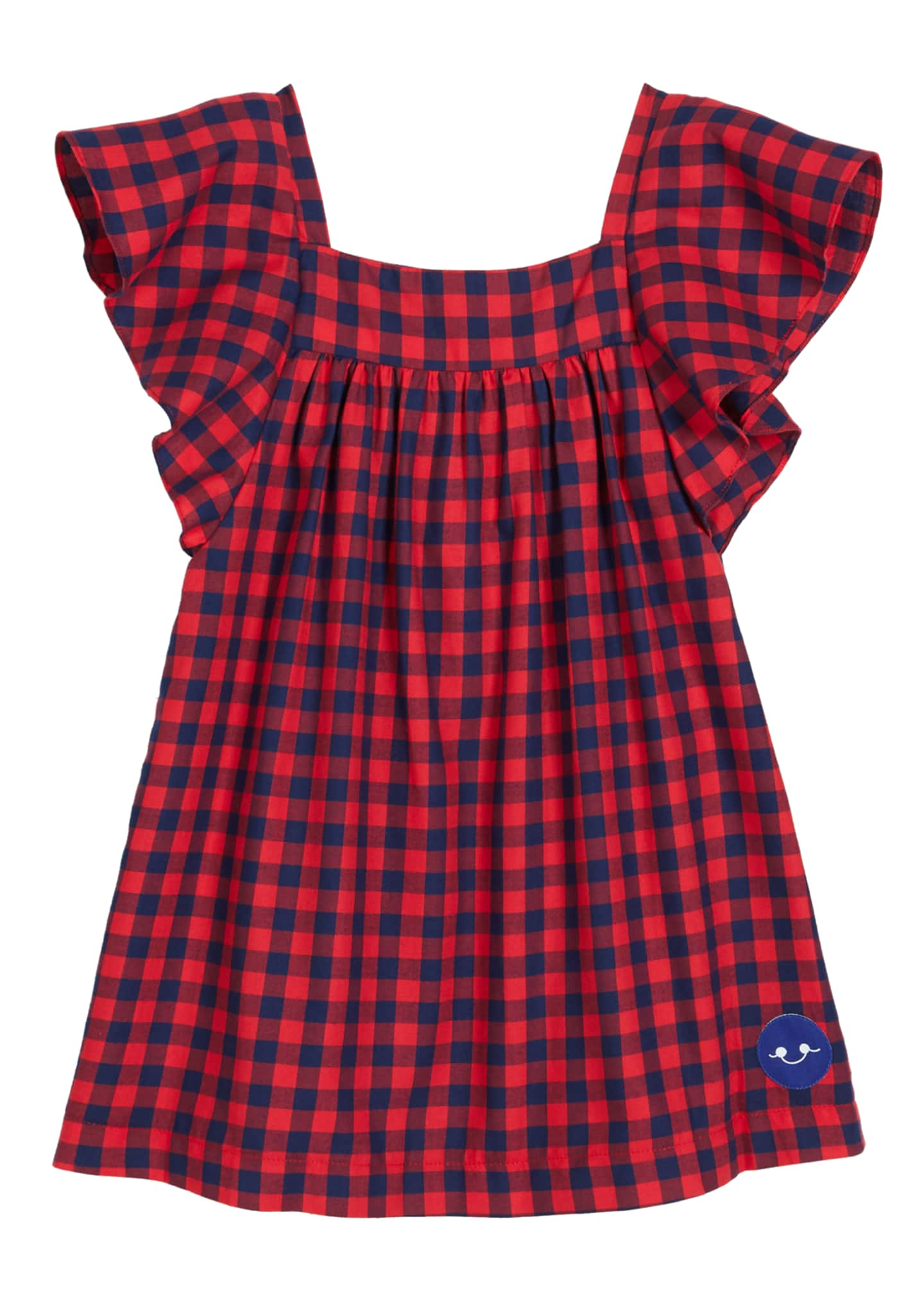 Smiling Button School Yard Check Flutter-Sleeve Top, Size