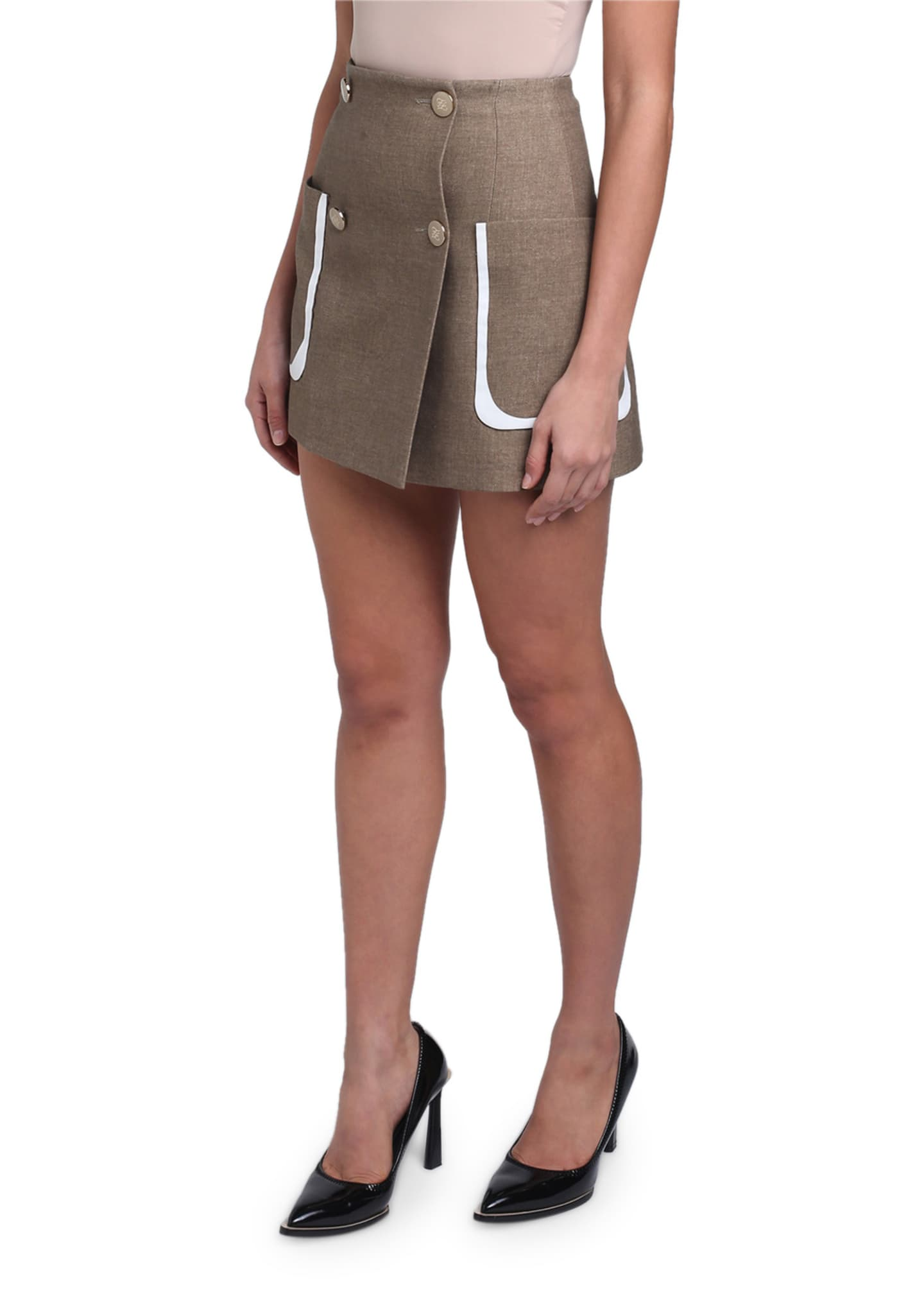 Image 2 of 4: Oversized-Pocket Mini Skirt